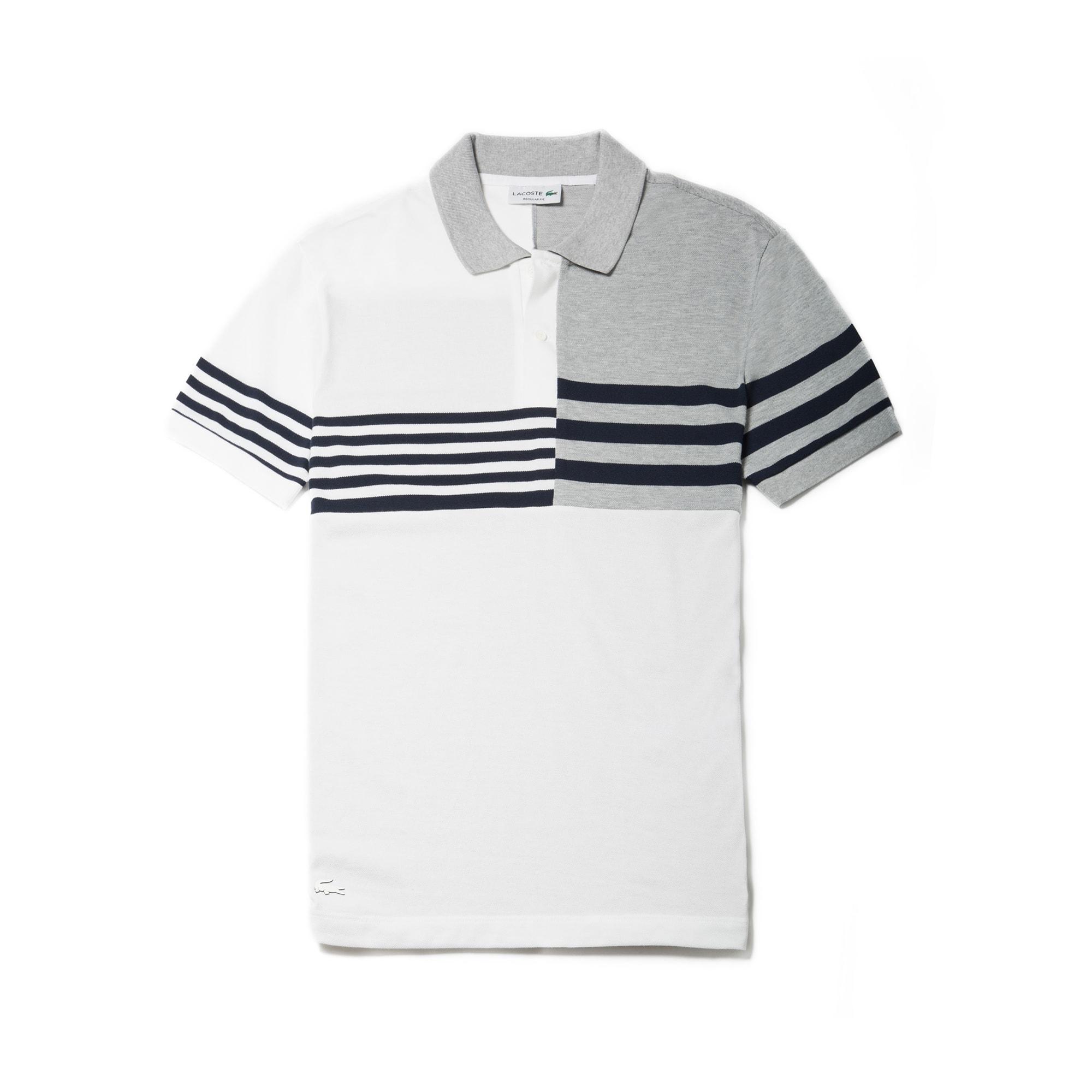 Men's  Regular Fit Mixed Stripes Petit Piqué Polo