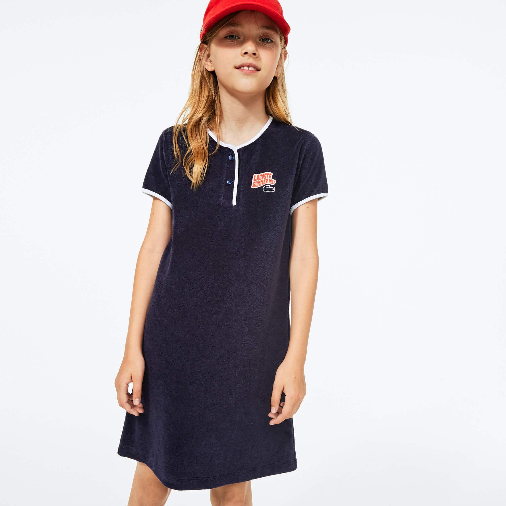 라코스테 Lacoste Girls' Heart Embroidery Henley Dress,Navy Blue / White • 525
