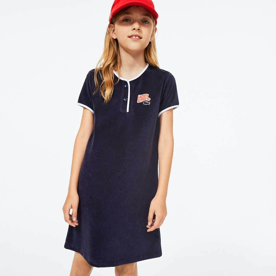 Girls' Heart Embroidery Henley Dress