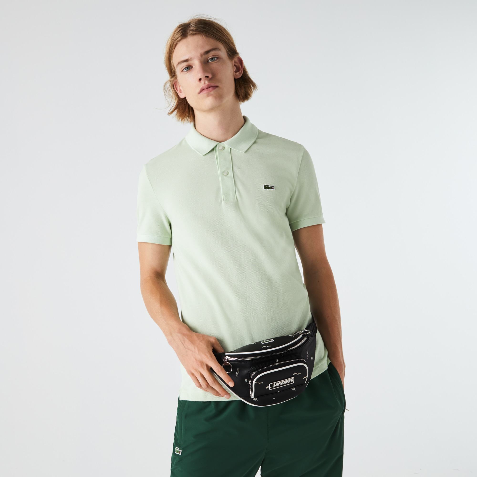 라코스테 '랩 미 업 컬렉션' LCST 코팅 캔버스 벨트백 Lacoste Mens LCST Coated Canvas Print Zippered Fanny Pack