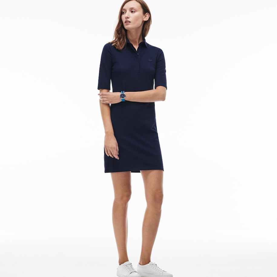 Women's Polo dress in stretch mini piqué cotton with three quarter sleeves