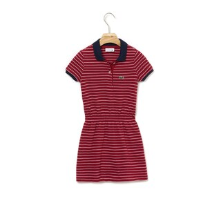 Girls' Fitted Striped Cotton Piqué Polo Dress