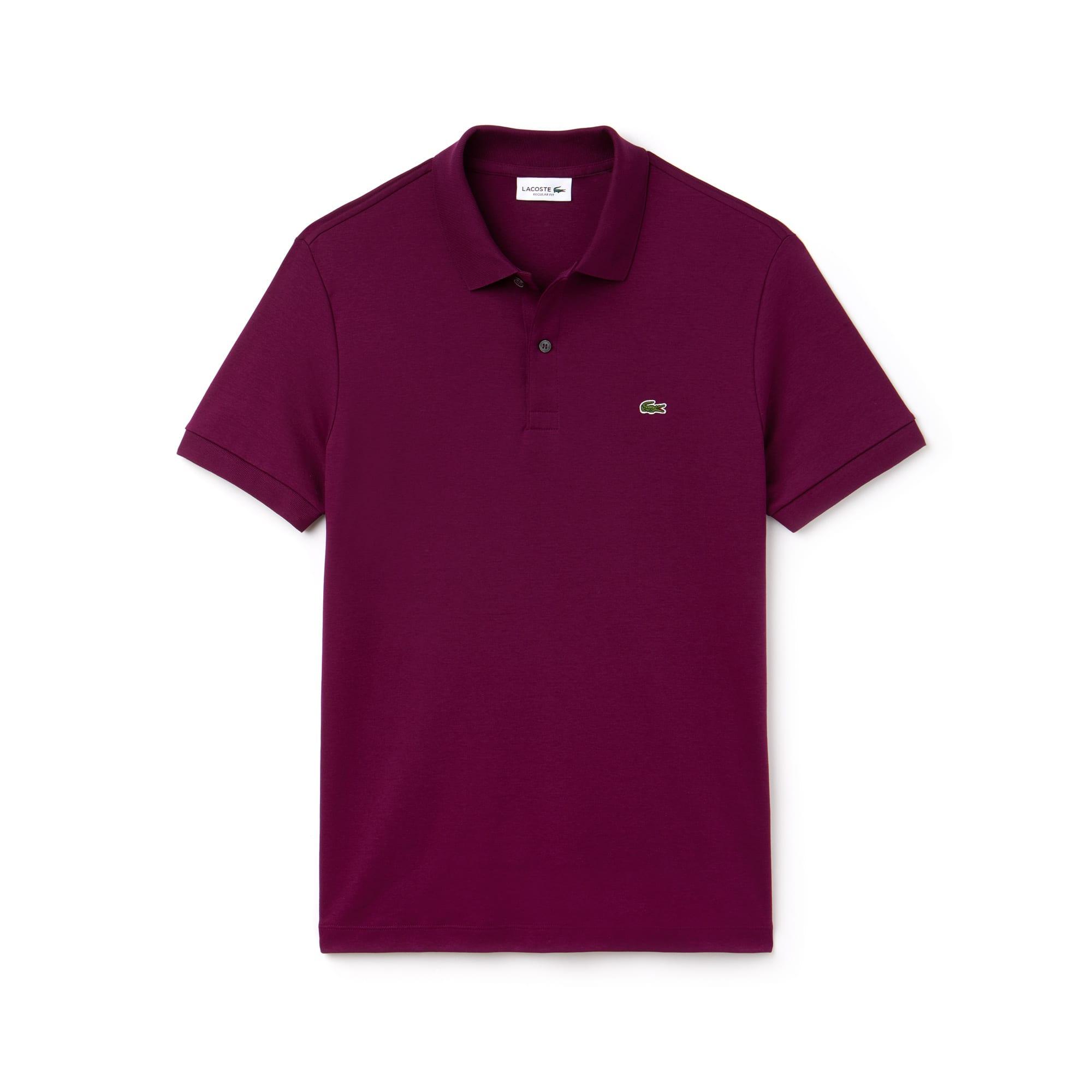 라코스테 Lacoste Mens Regular Fit Pima Cotton Interlock Polo,urchin purple