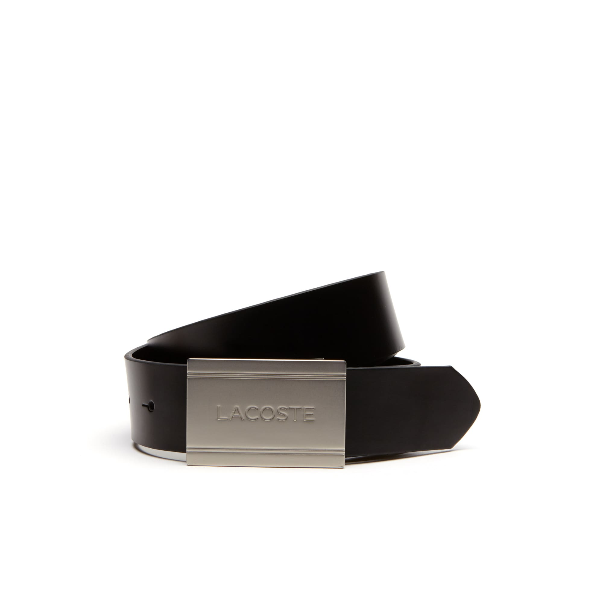 Men's Lacoste Engraved Plate Buckle Leather Belt