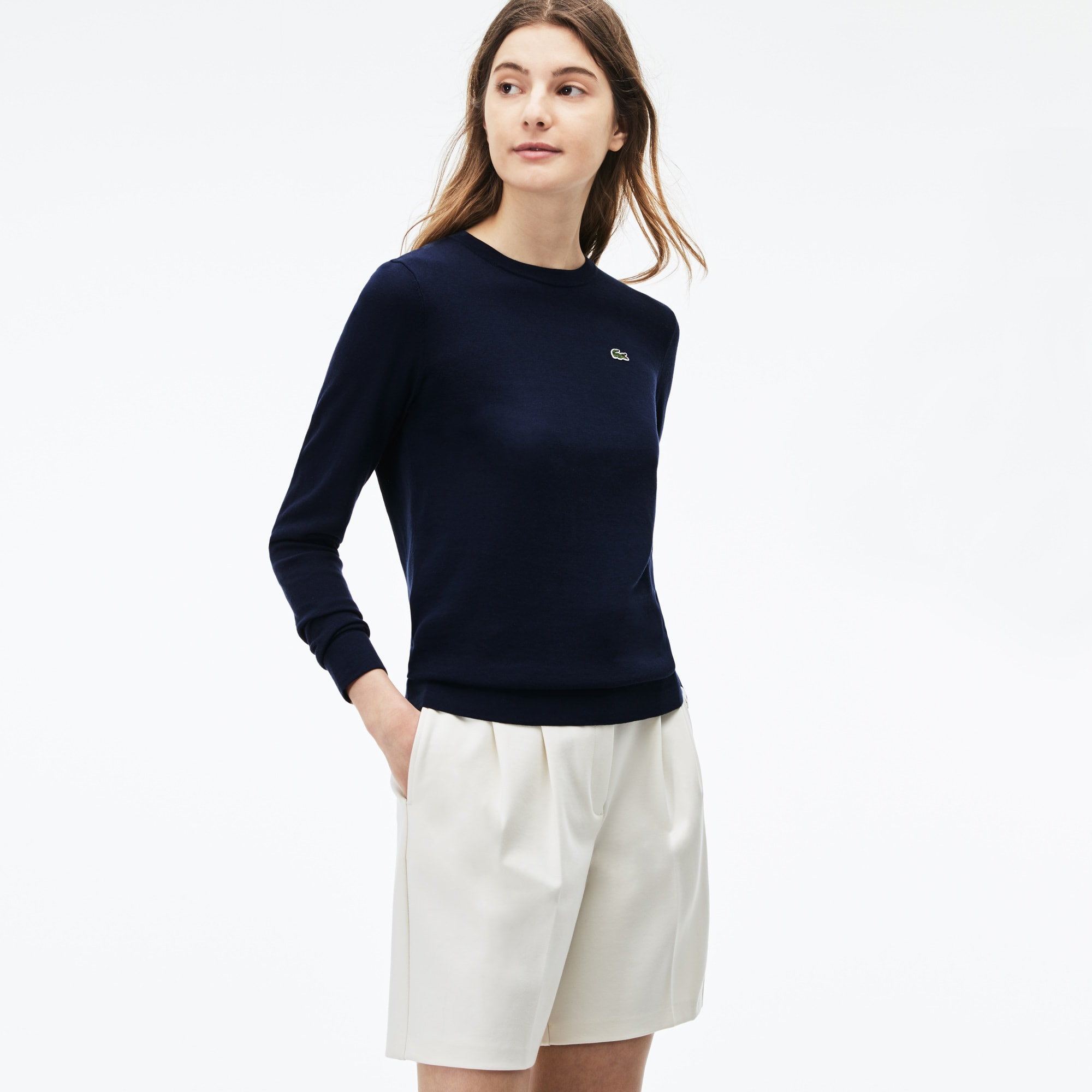 Women's High Neck Pinstriped Sweater
