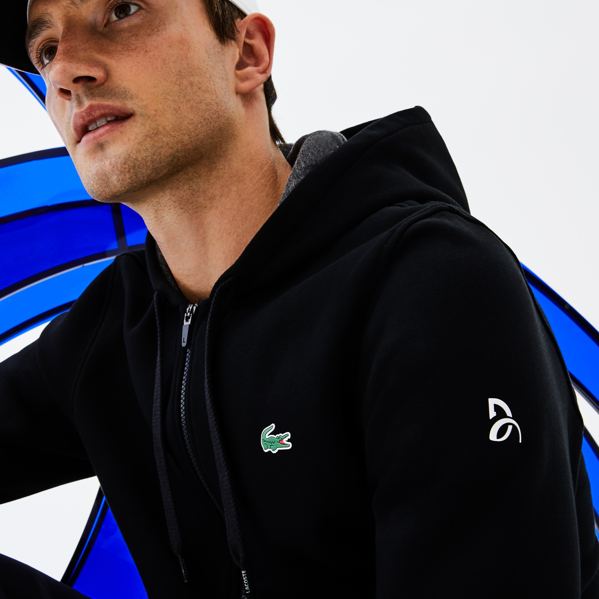 Men's SPORT Technical Fleece Hooded Zip Sweatshirt - Lacoste x Novak Djokovic Off Court Premium Edition