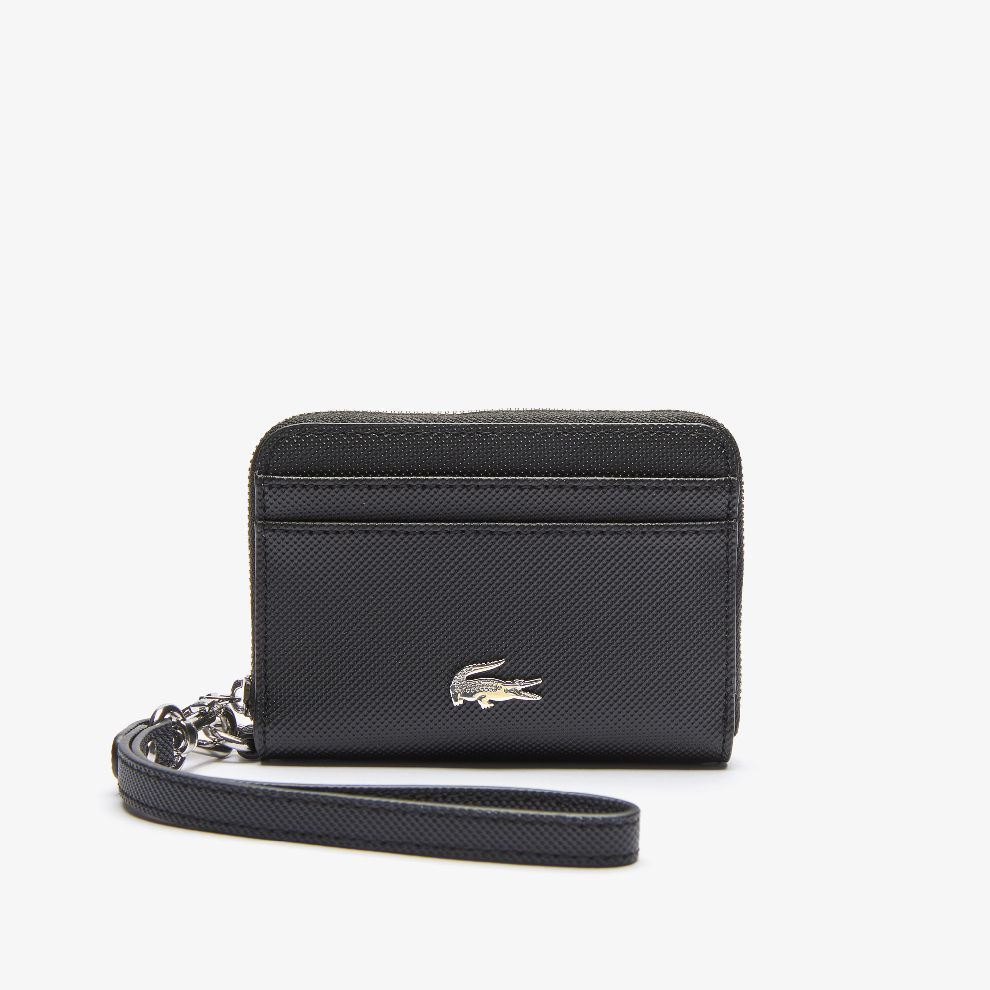 라코스테 Lacoste Womens Daily Classic Small Coated Pique Canvas Zip Wallet,black