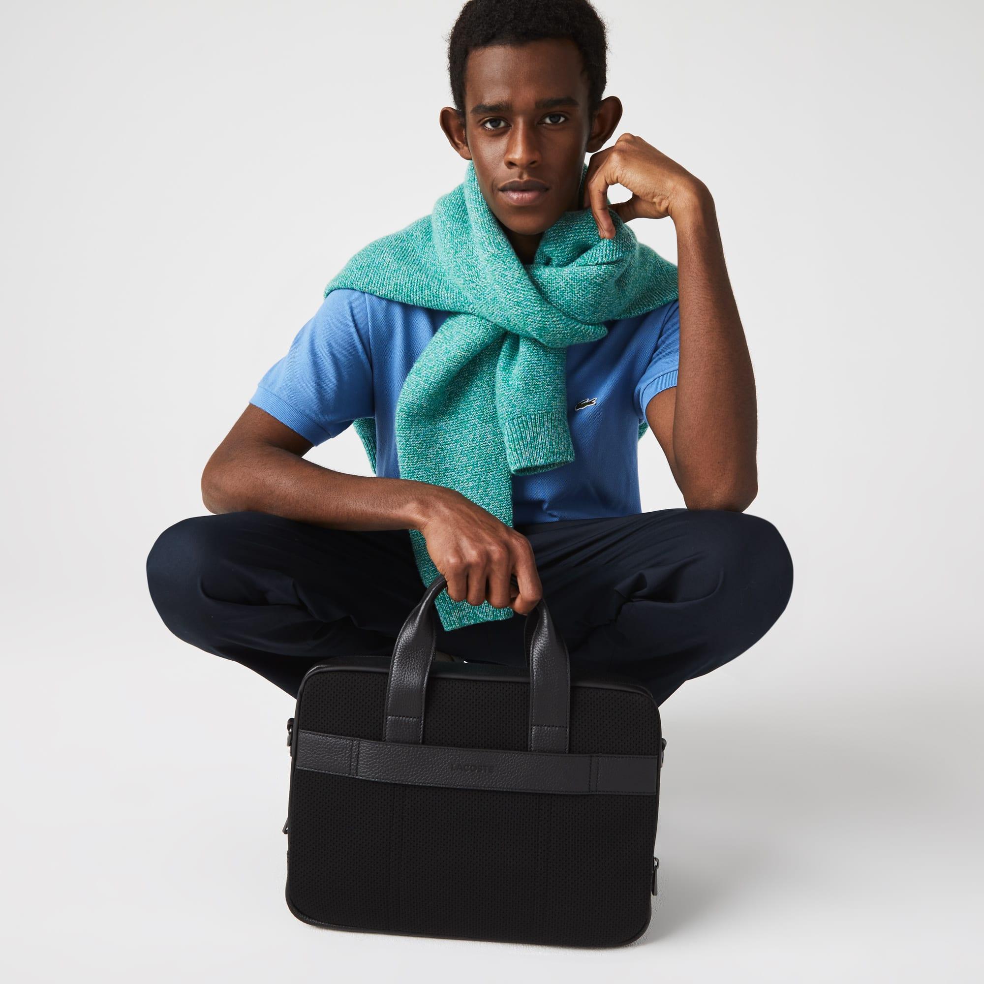 라코스테 Lacoste Mens Soft Mate Matte Full-Grain Leather Computer Bag,Black 000