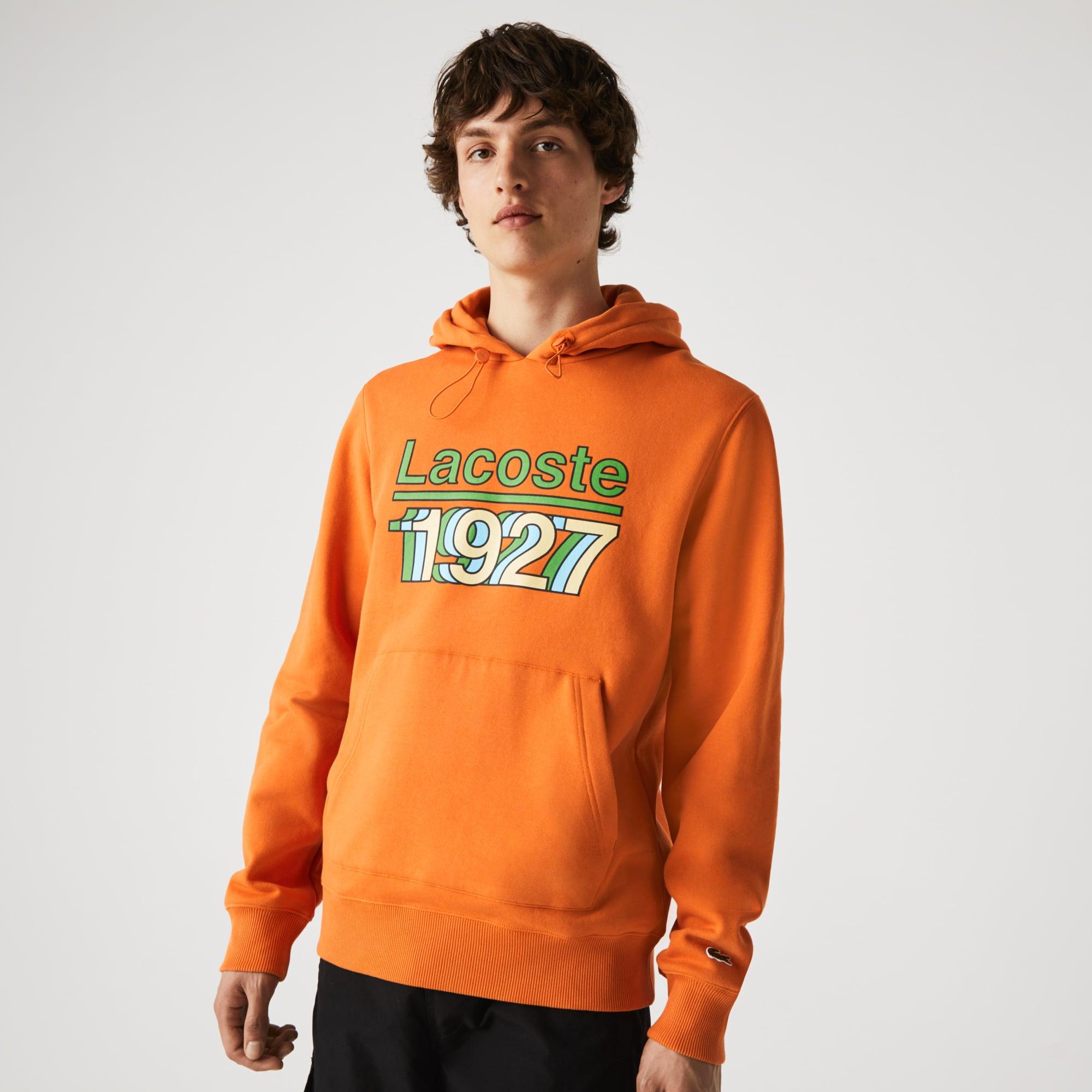 라코스테 맨 후드티 Lacoste Mens Vintage Printed Hooded Fleece Sweatshirt,Orange TV1