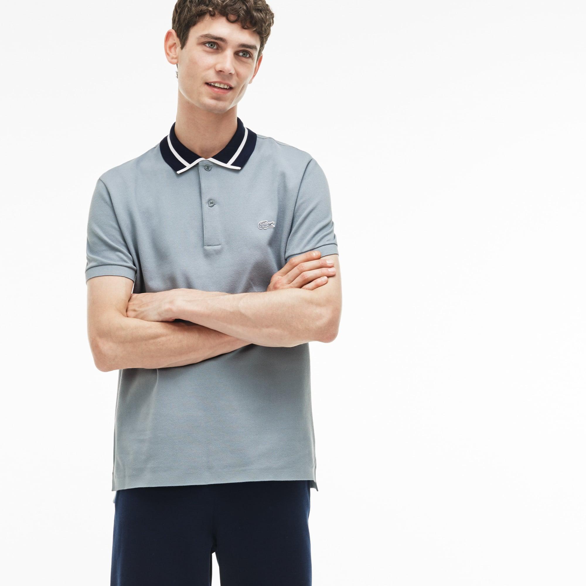 Men's Slim Fit Piped Thick Cotton Piqué Polo