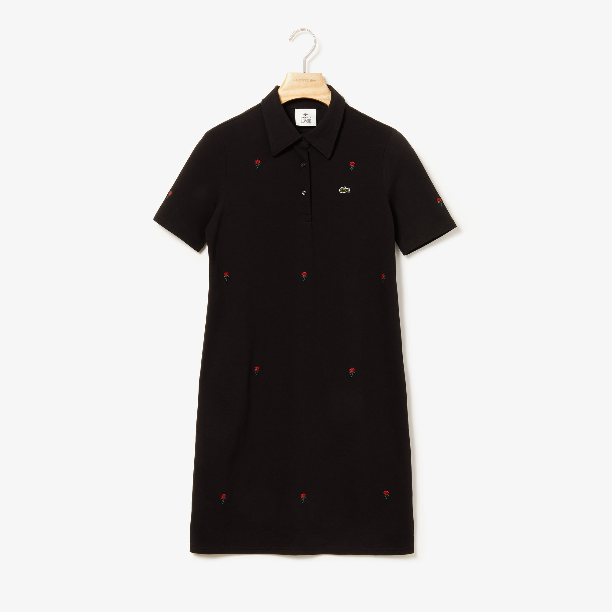 Lacoste Dresses Women's LIVE Rose-Embroidered Stretch Piqué Dress