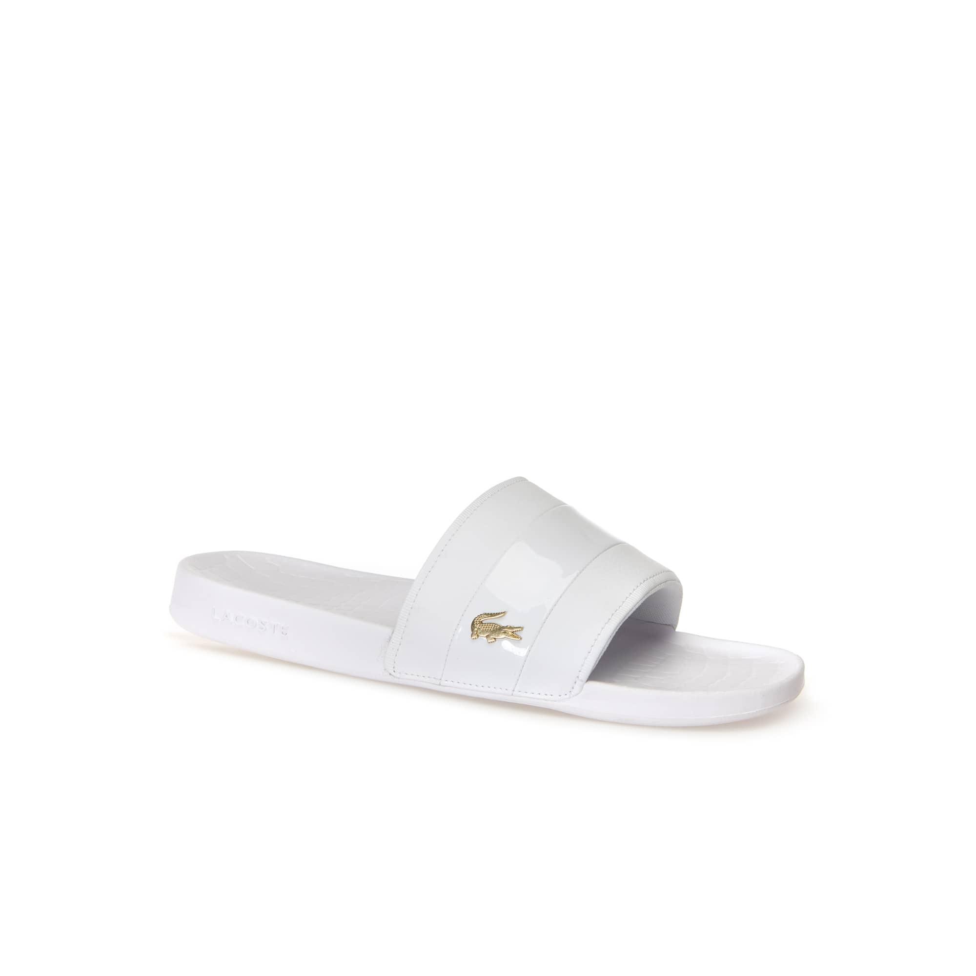 라코스테 Lacoste Men's Fraisier Leather Slides,white/gold