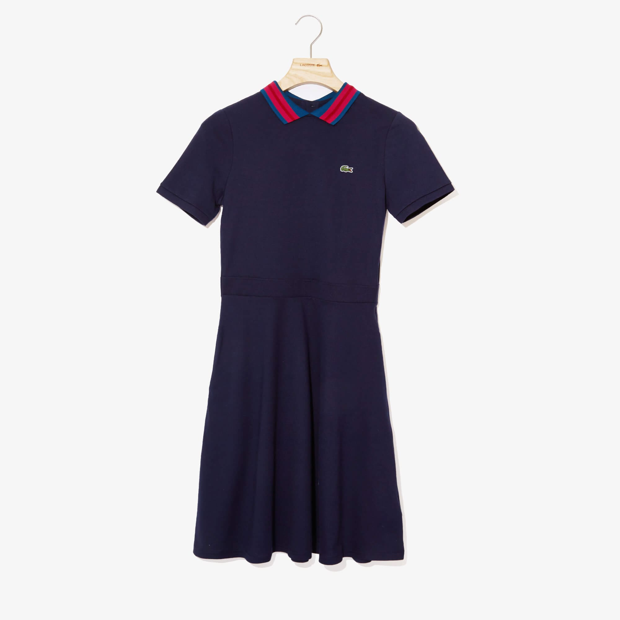 Lacoste Womens S//S Striped Cotton Pique Classic Polo Dress