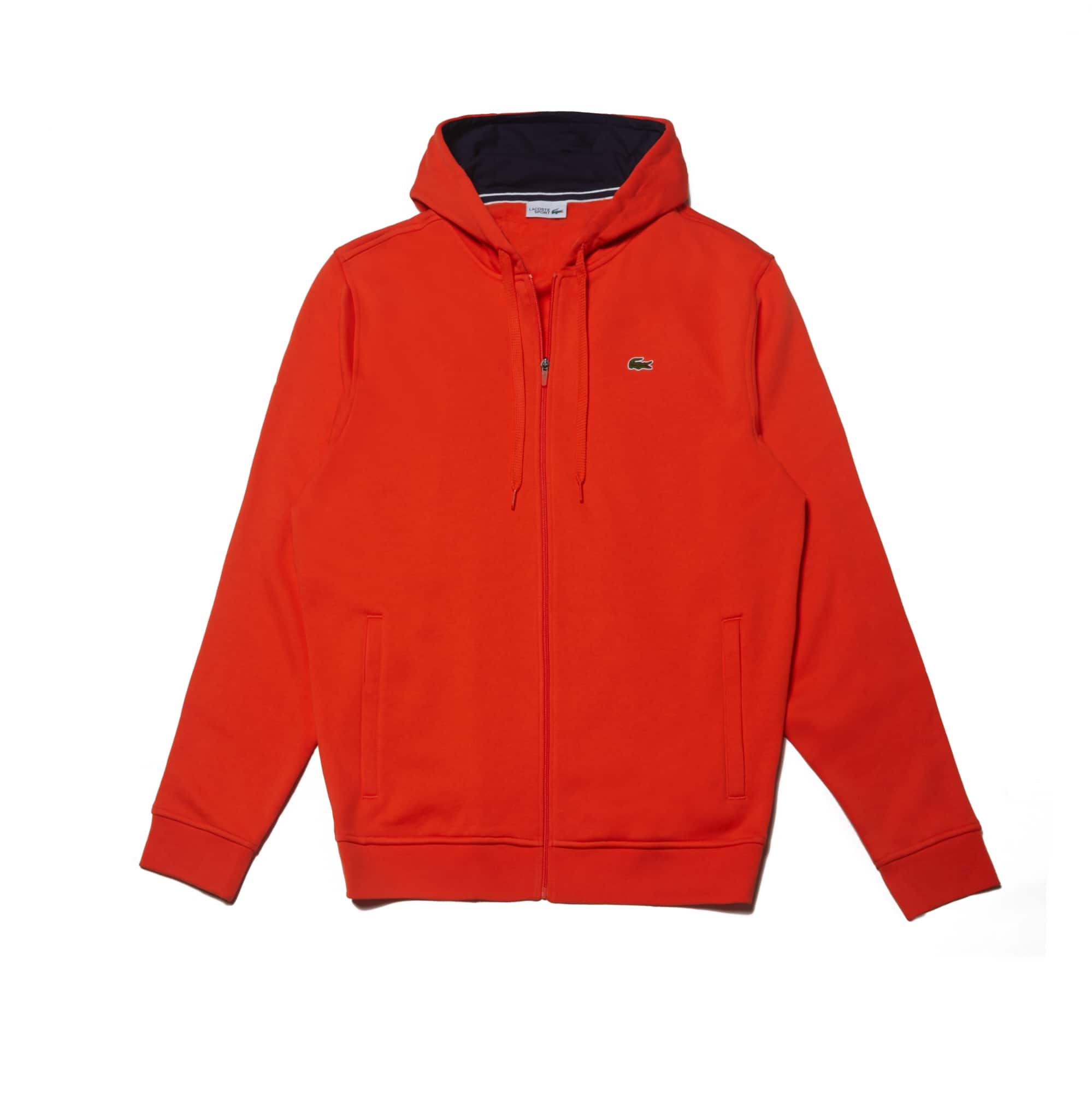 라코스테 Lacoste Mens SPORT Tennis Fleece Zip Up,red / navy blue