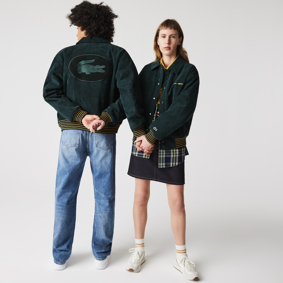 Unisex Lacoste LIVE Golden Embroidery Ribbed Velvet Teddy Jacket