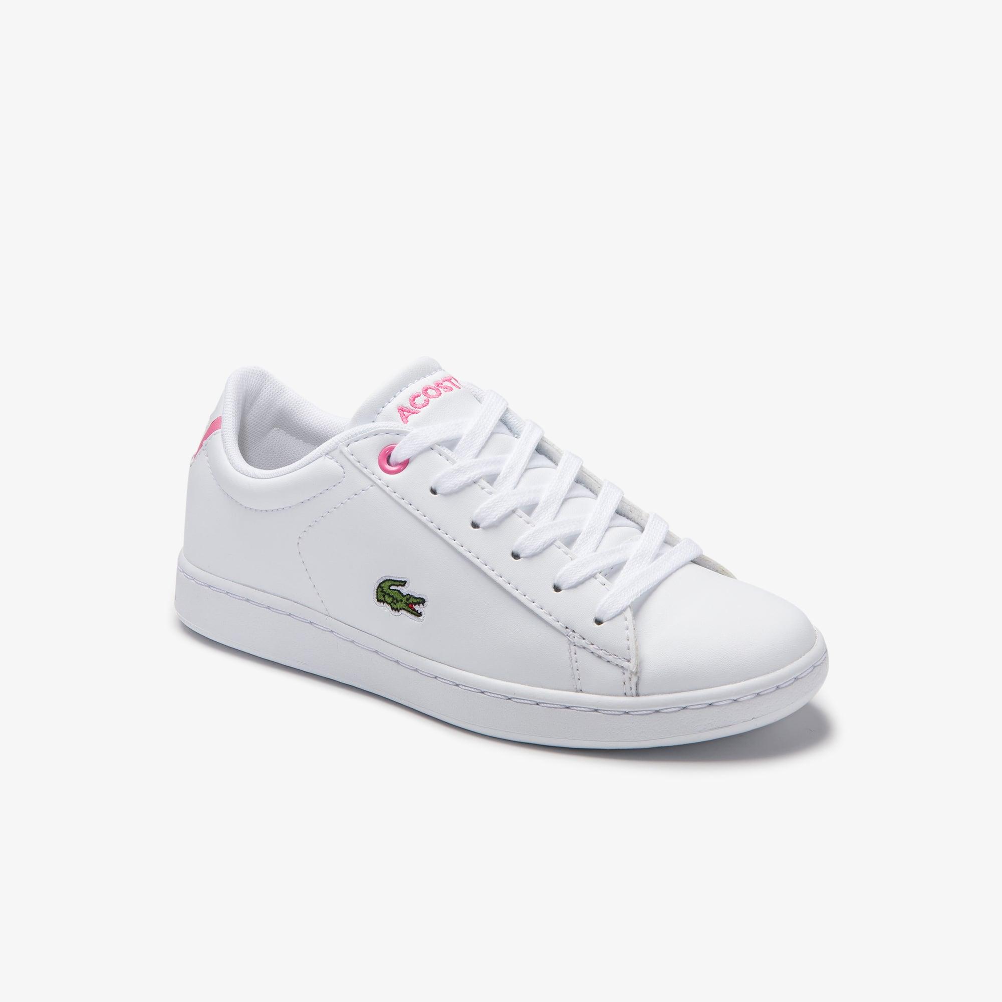 라코스테 Lacoste Childrens Carnaby Evo Synthetic Sneakers,WHITE/PINK • B53