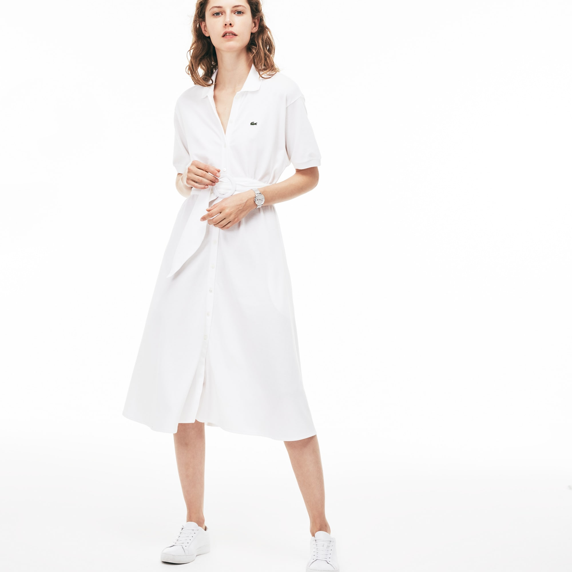 Women's Belted Buttoned Piqué Polo Dress