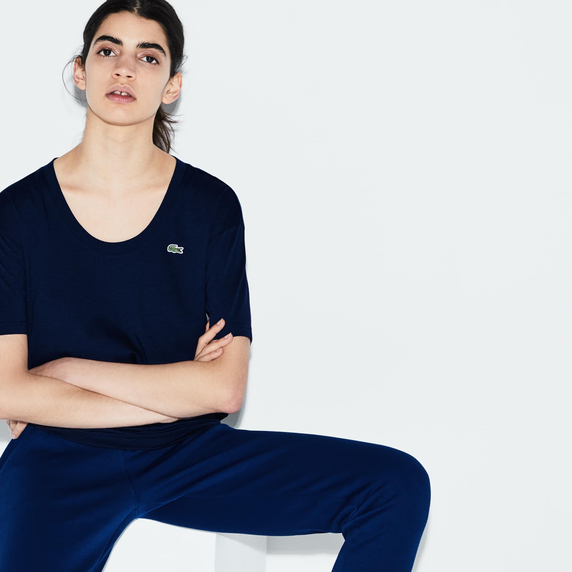 Women's  SPORT U-neck Flowing Jersey Tennis T-shirt