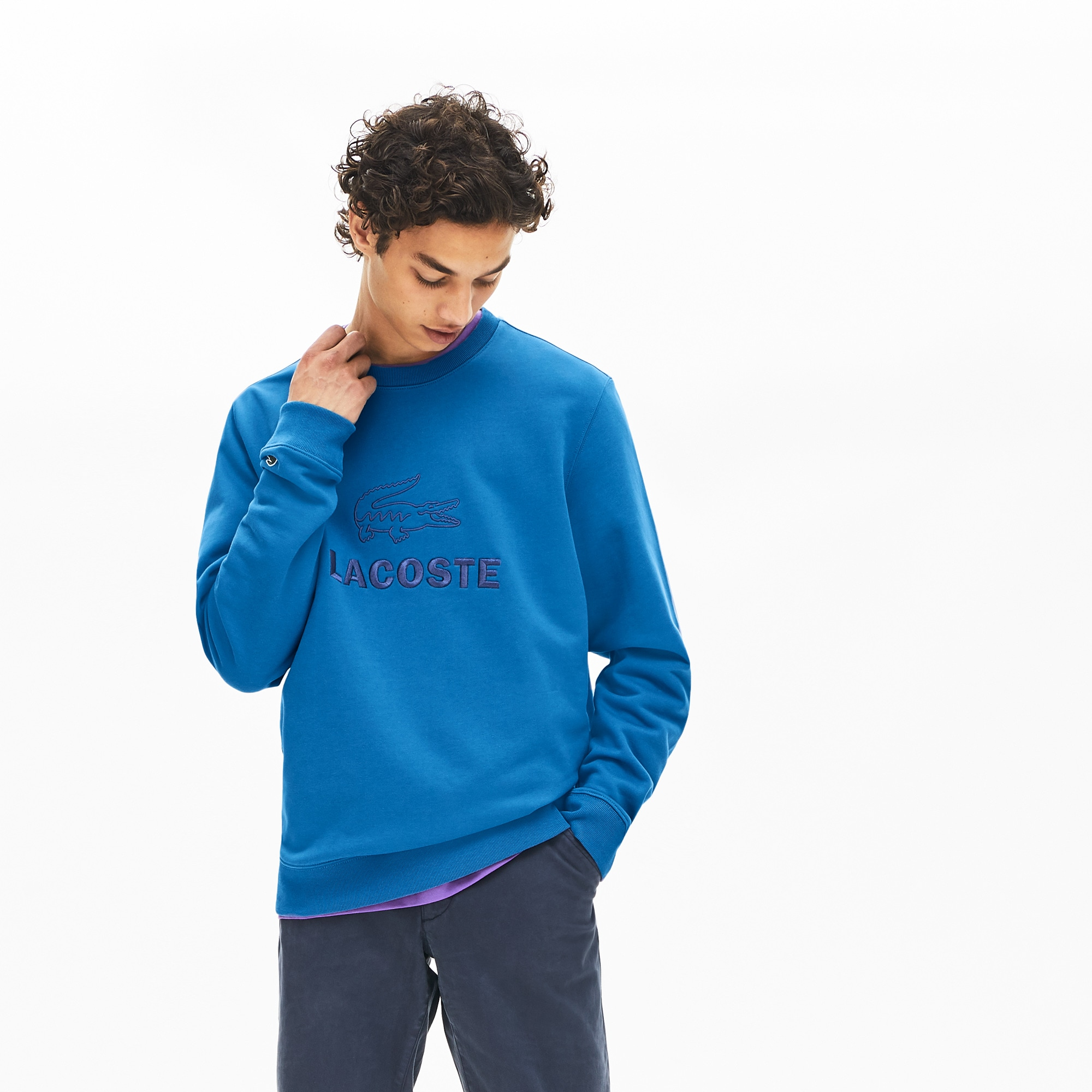 Lacoste Tops Men's Embroidered-Logo Cotton Fleece Sweatshirt