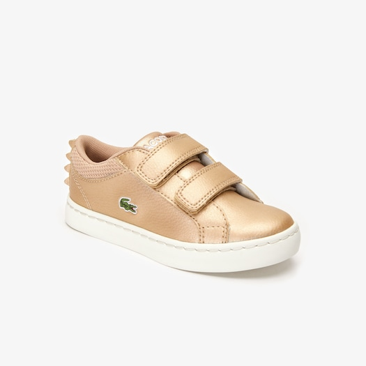 라코스테 밸크로 아동 운동화 Lacoste Kids Straightset Metallic Sneakers