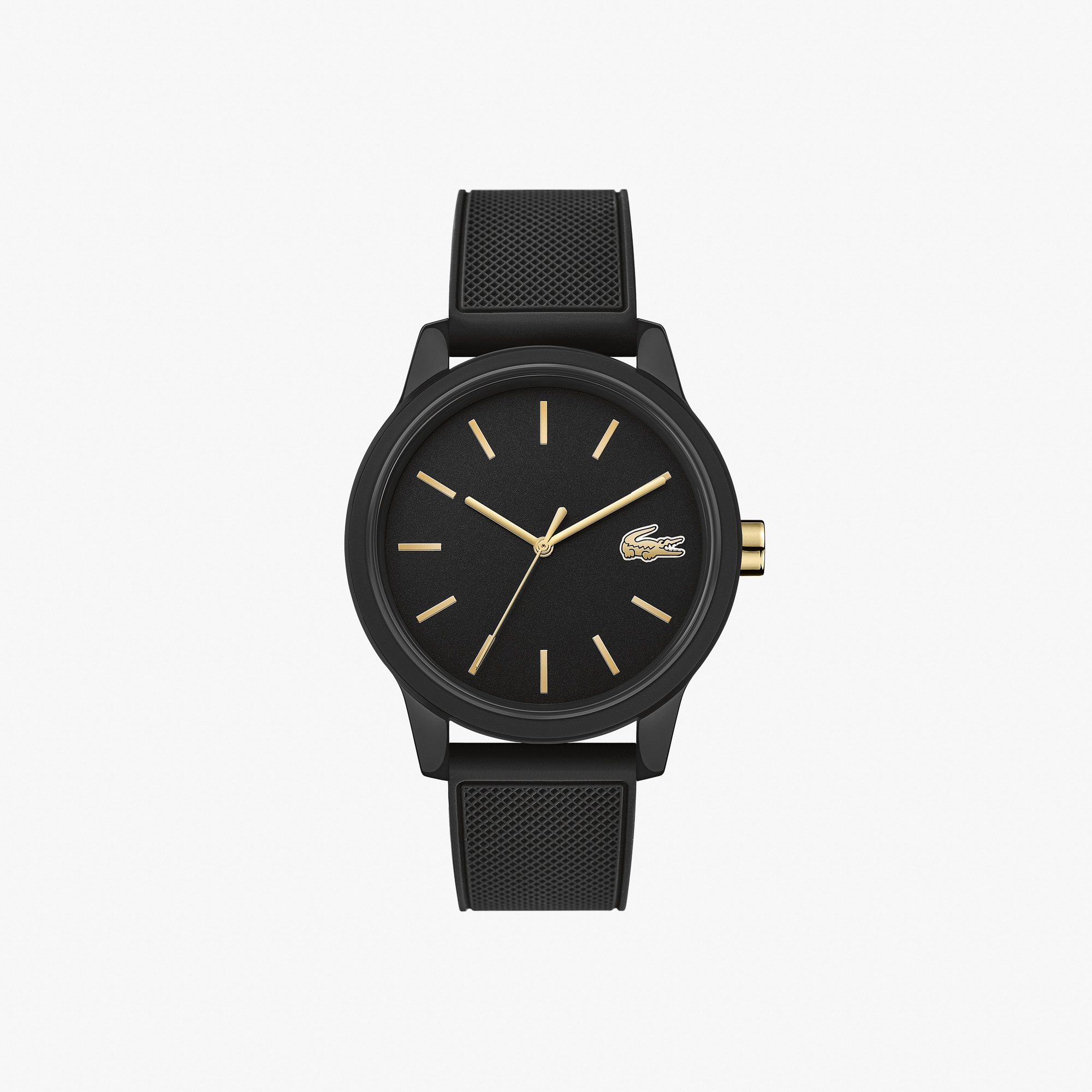 Mens Lacoste.12.12 Watch with Black Silicone Petit Piqué Pattern Strap