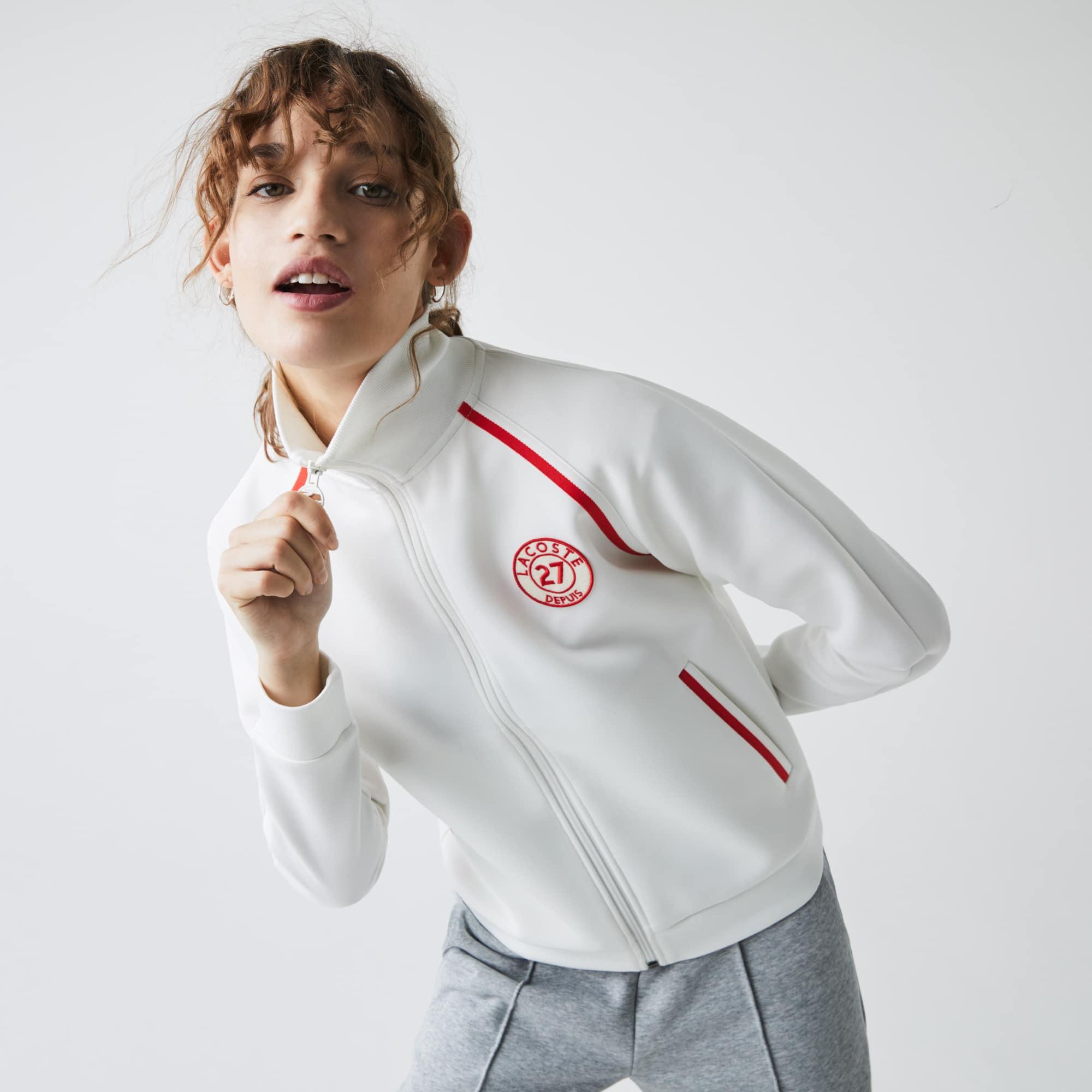 라코스테 Lacoste Women's Stand-Up Collar Vintage Style Sweatshirt