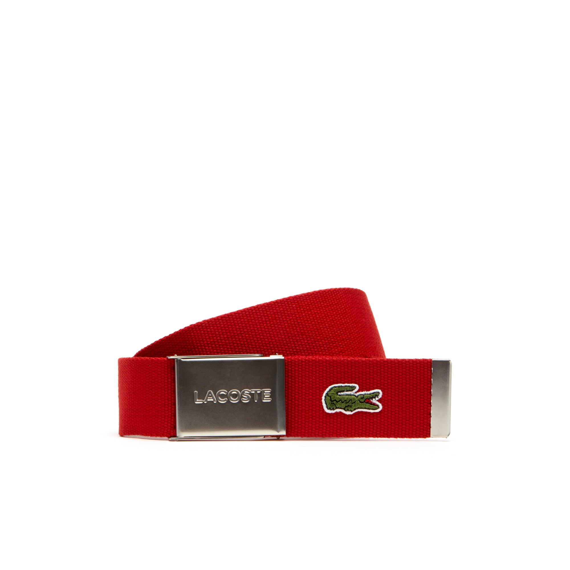 라코스테 벨트 Mens Made in France Edition Lacoste Engraved Buckle Woven Belt,red