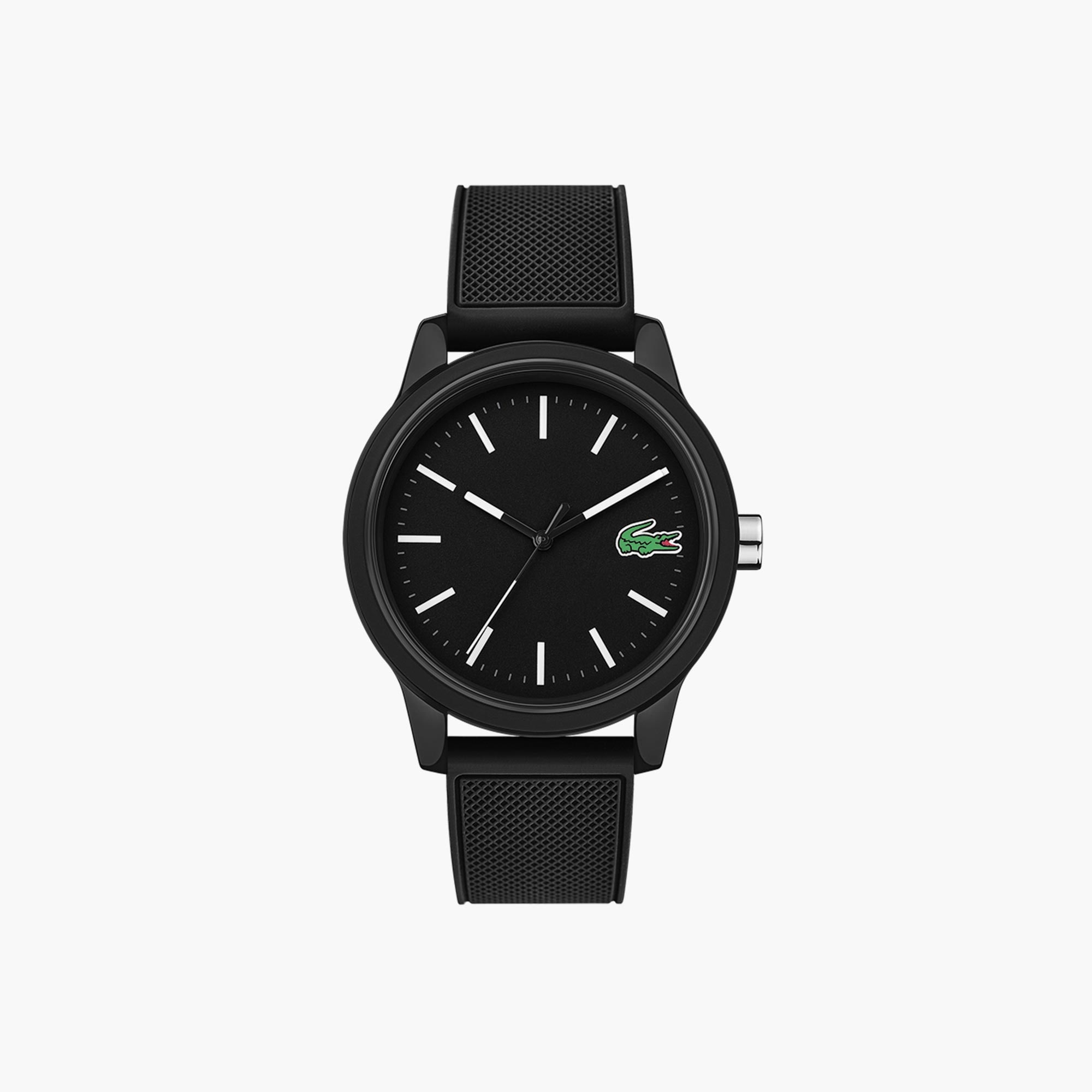 827054194739 Men s Lacoste 12.12 Watch with Black Silicone Strap