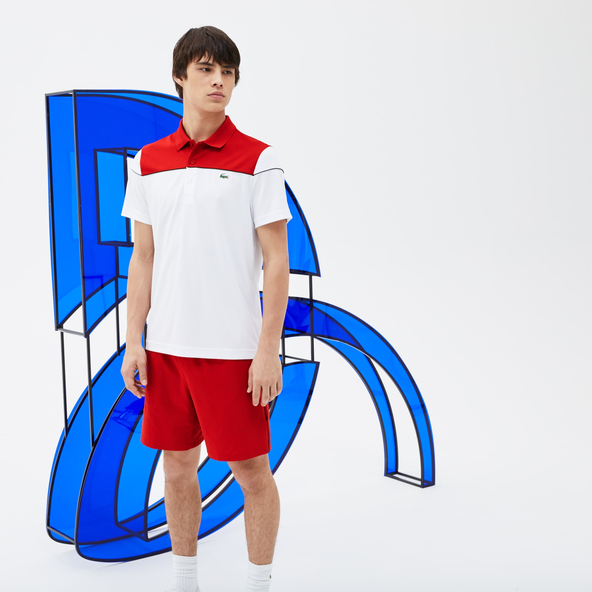 Men's Lacoste SPORT Piped Stretch Technical Shorts - Novak Djokovic Supporter Collection