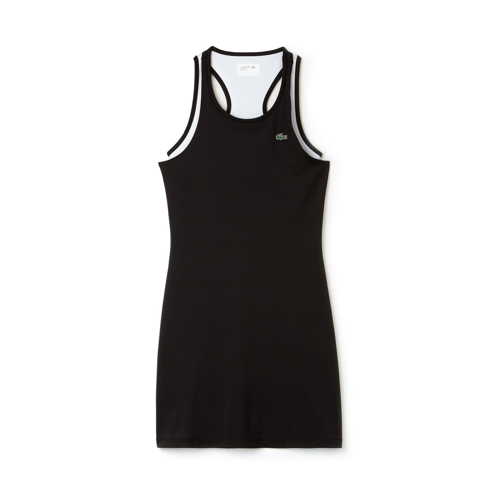 라코스테 스포츠 원피스 Lacoste Womens SPORT Technical Jersey Racerback Tennis Dress,BLACK/WHITE