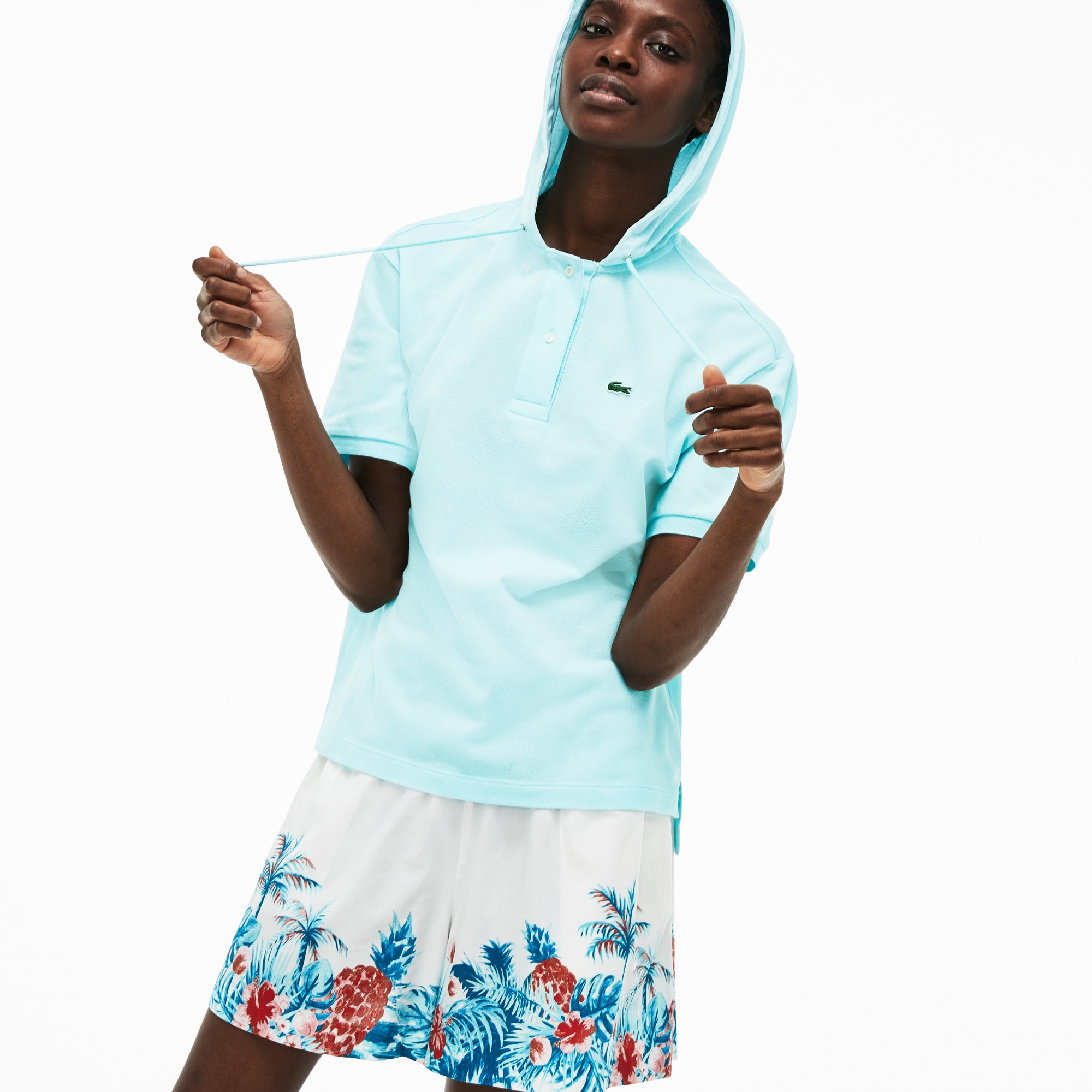 Lacoste Tops WOMEN'S RELAXED FIT STRETCH MINI PIQUÉ POLO