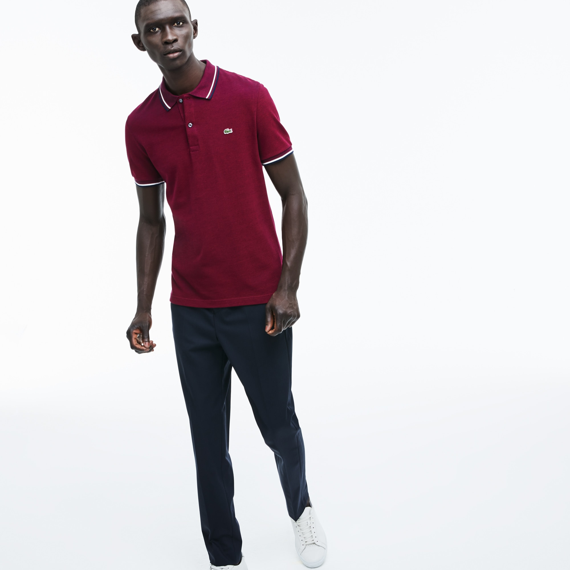 Men's Slim Fit Contrast Accents Caviar Piqué Polo