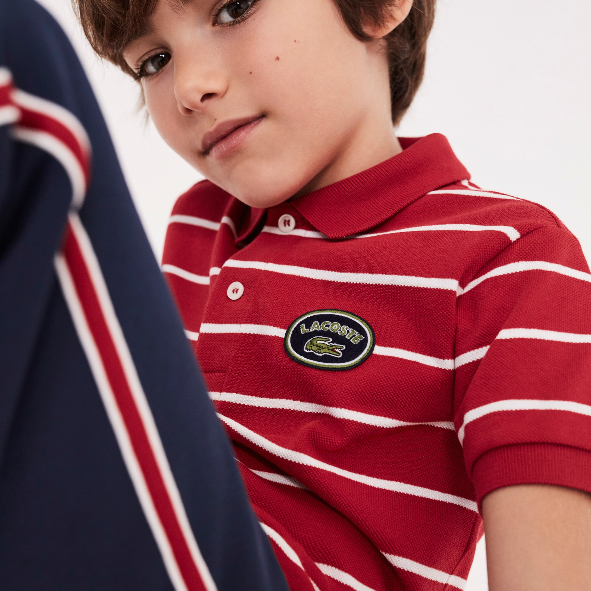 Boys' Striped Cotton Piqué Polo