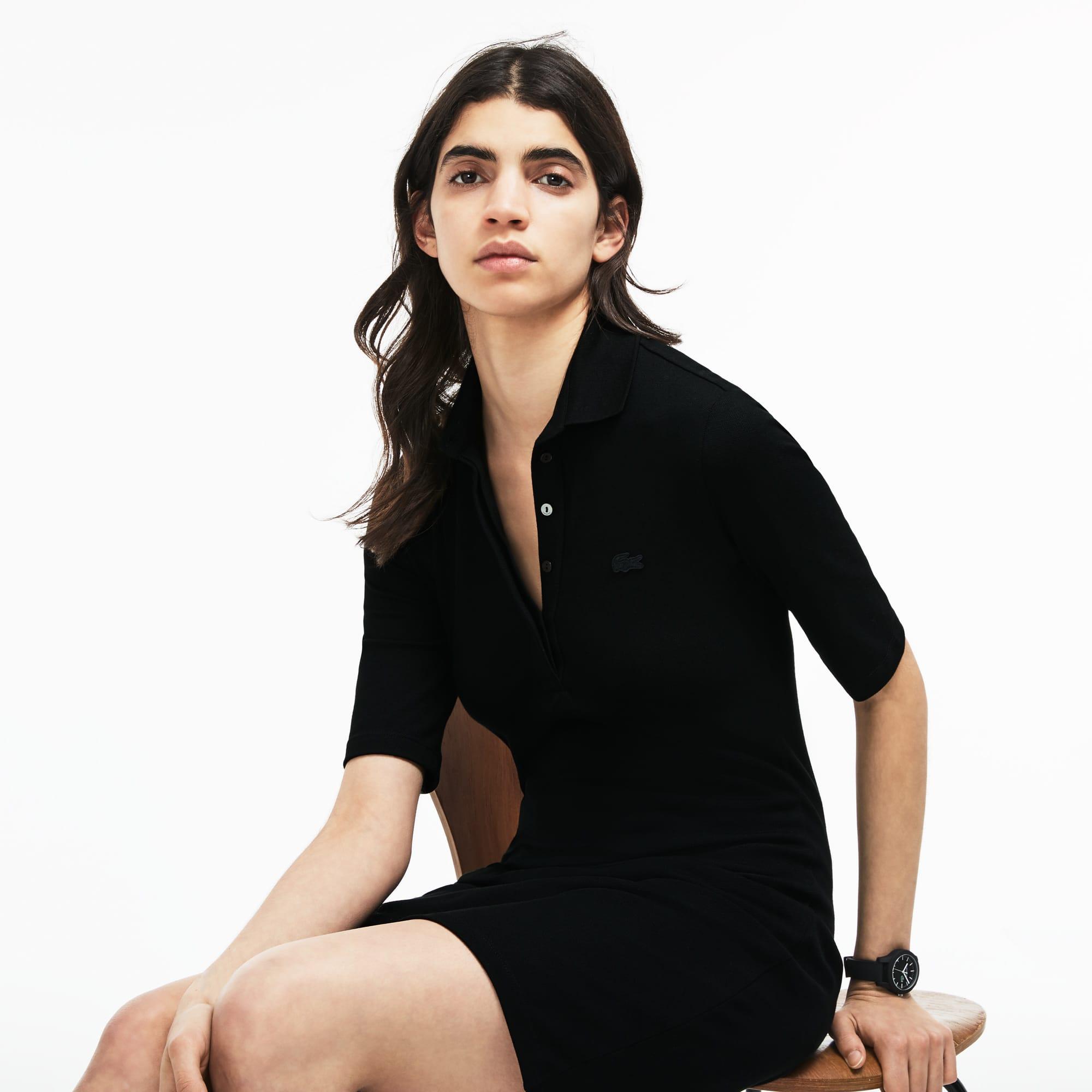 e3c7388be9 Women'S Slim Fit Stretch Mini Piqué Polo Dress in Black