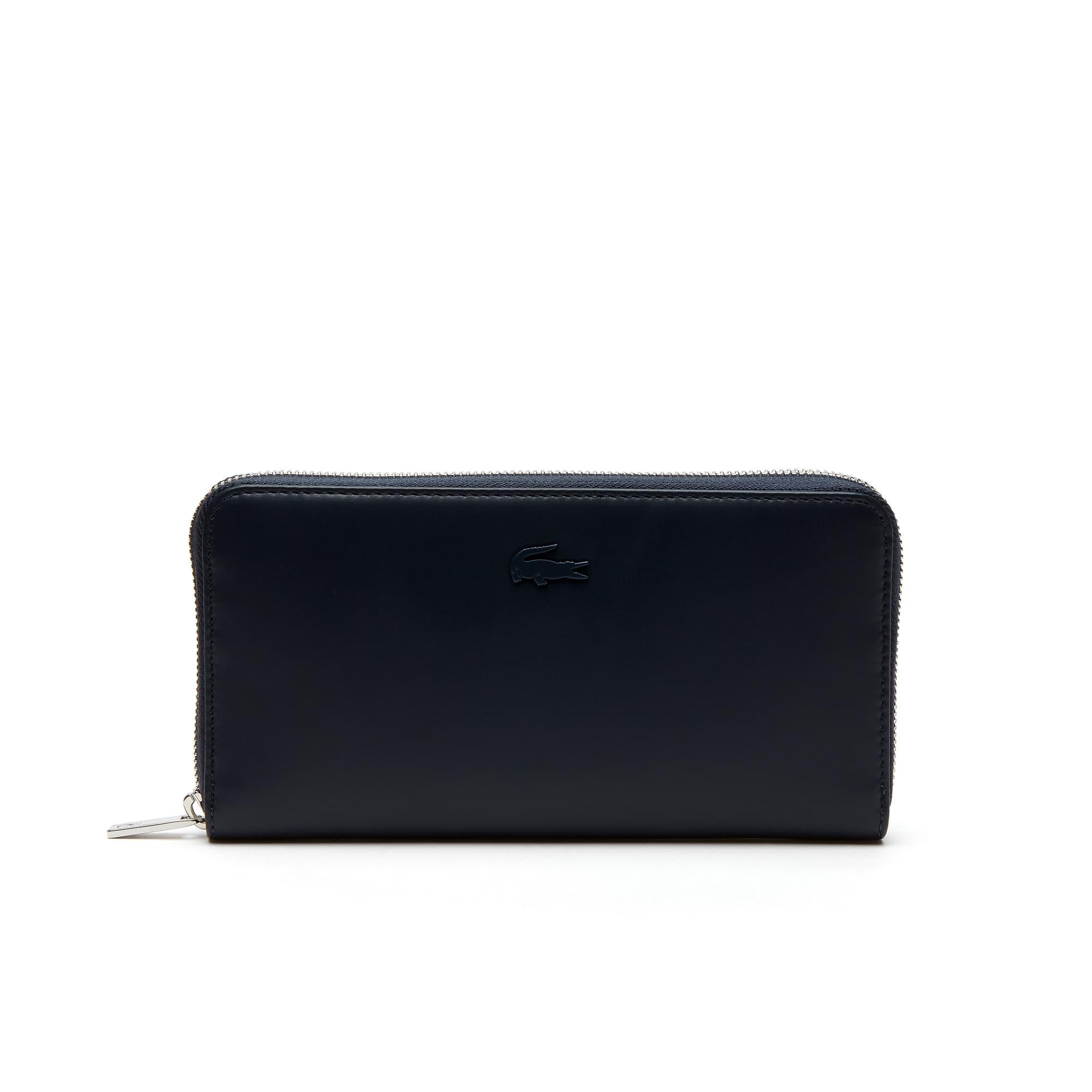 라코스테 장지갑 Lacoste Womens Purity Soft Monochrome Leather 8 Card Zip Wallet,total eclipse