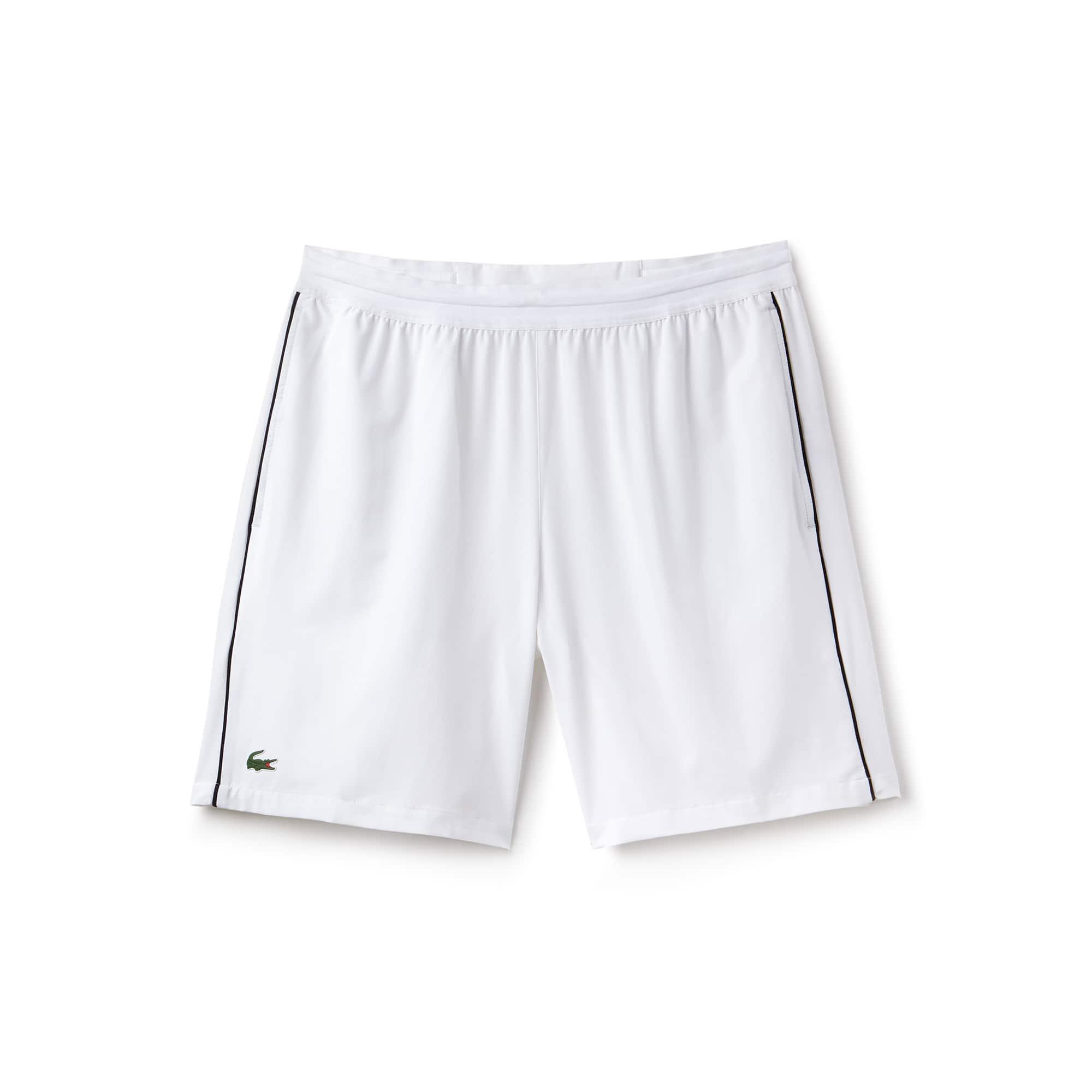라코스테 스포츠 반바지 Lacoste Mens SPORT NOVAK DJOKOVIC SUPPORT WITH STYLE COLLECTION Piped Stretch Technical Shorts,white/black