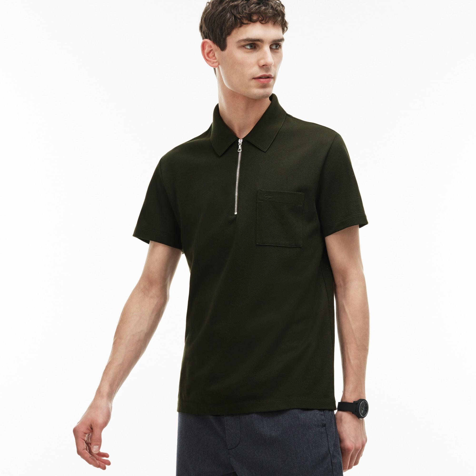 Men's  Slim Fit Zip Neck Cotton Piqué Polo