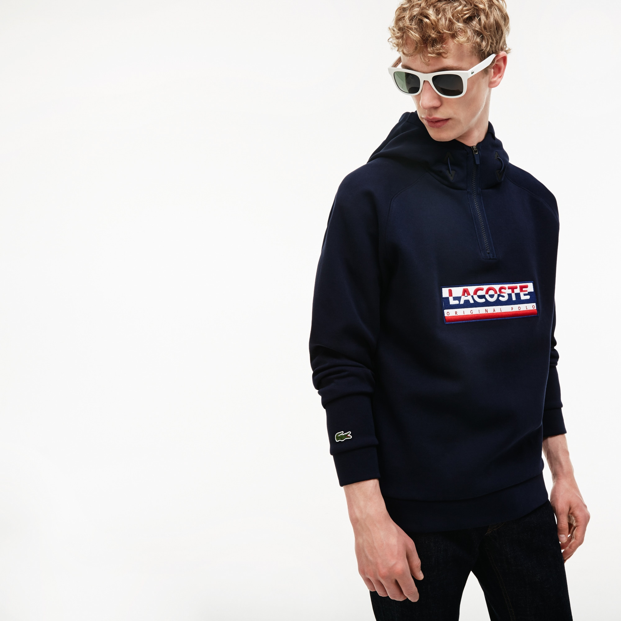 Men's Hooded  Embroidery Two-Ply Jersey Sweatshirt