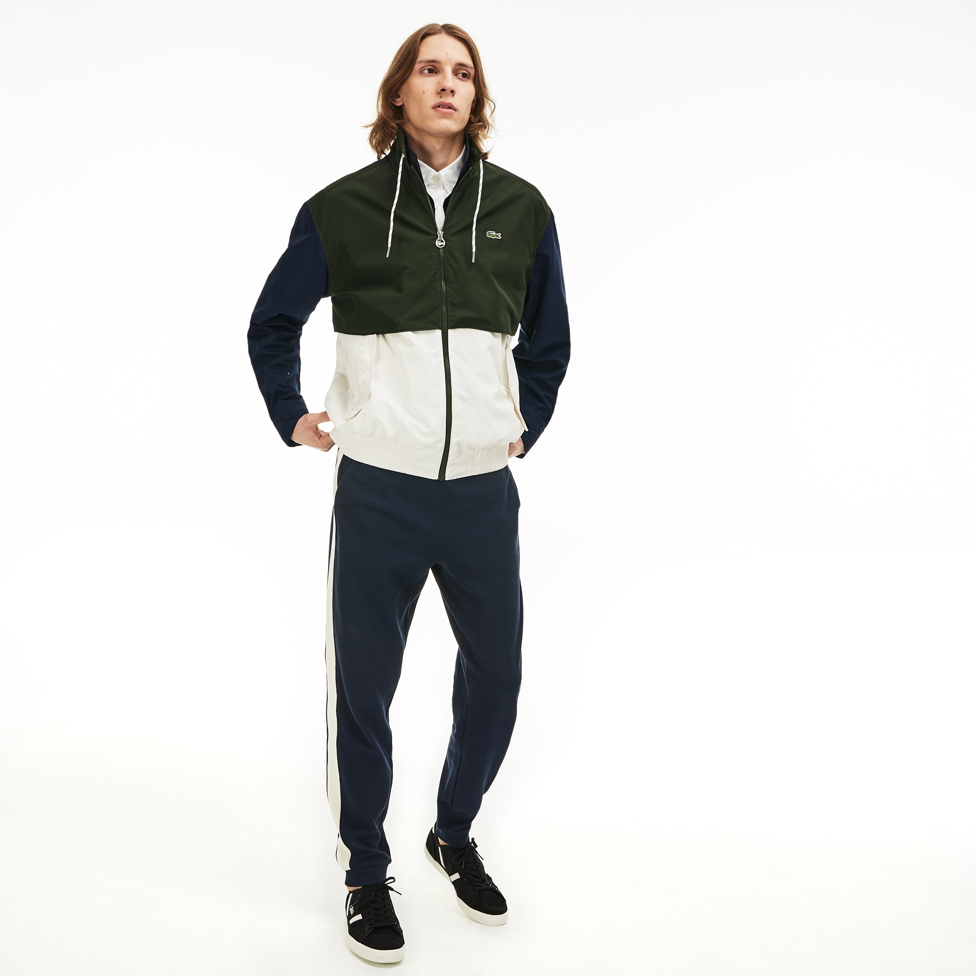 Men/'s Lacoste Water-Resistant Mesh Lined Polyester Jacket in Blue