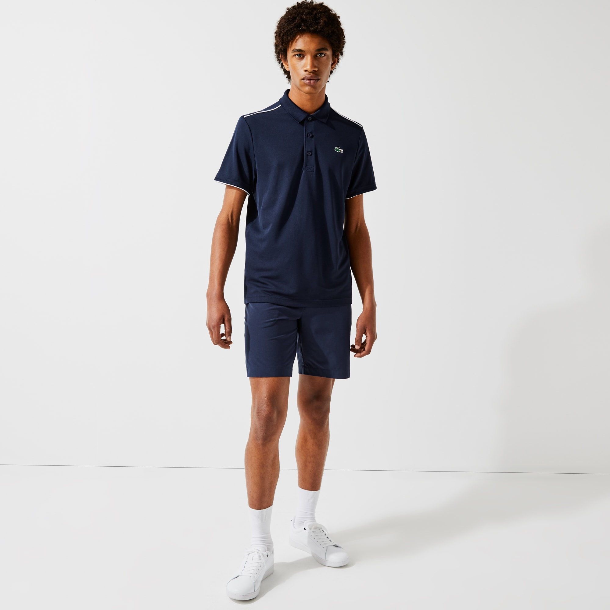 Lacoste Mens SPORT Contrast Piping Breathable Pique Polo Shirt