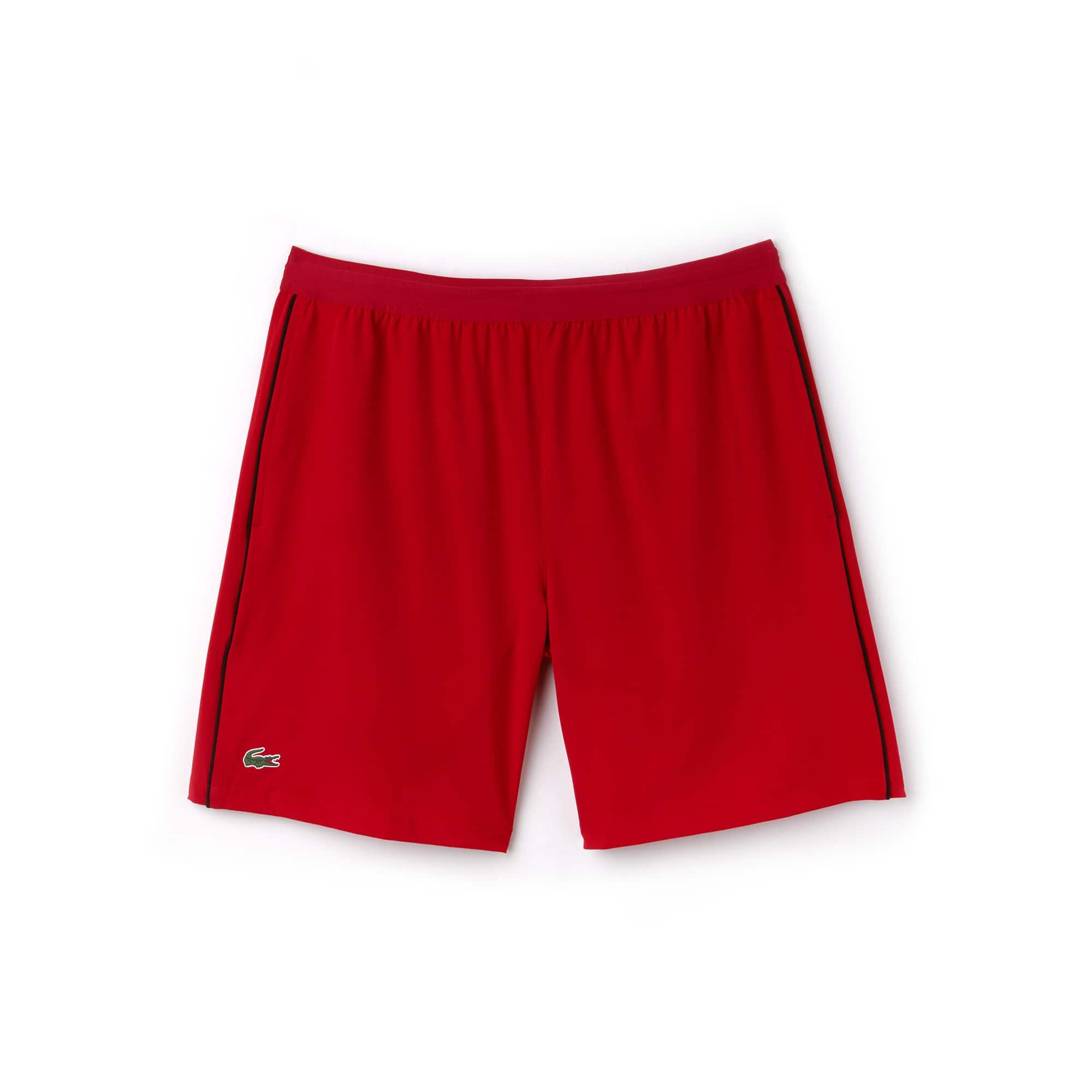 라코스테 스포츠 반바지 Lacoste Mens SPORT NOVAK DJOKOVIC SUPPORT WITH STYLE COLLECTION Piped Stretch Technical Shorts,red/black