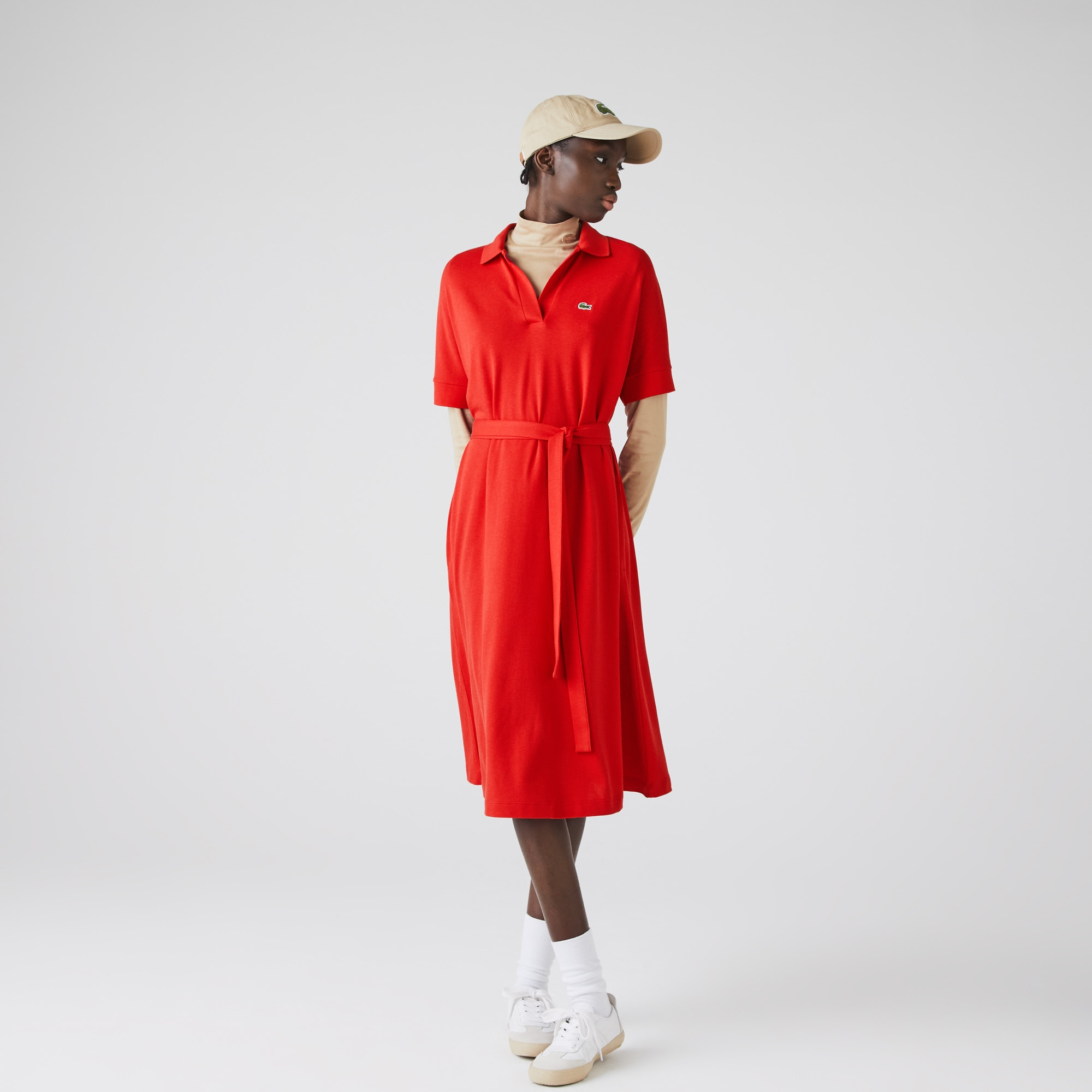 Lacoste Womens V-neck Fitted Flowy Pique Polo Dress