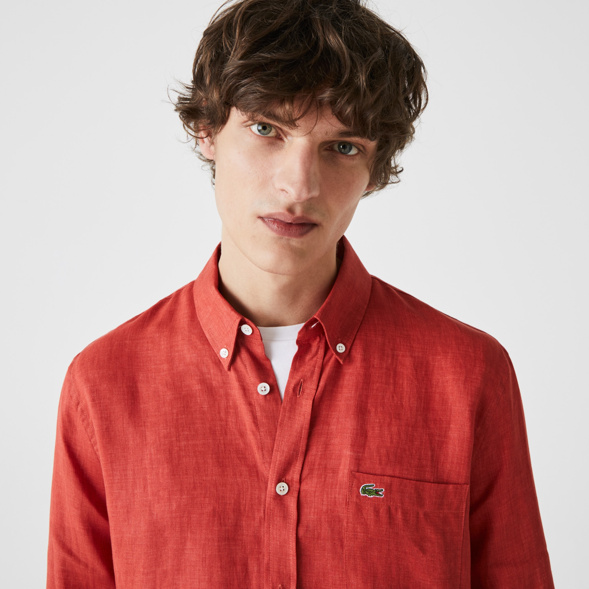 라코스테 Lacoste Mens Regular Fit Linen Shirt