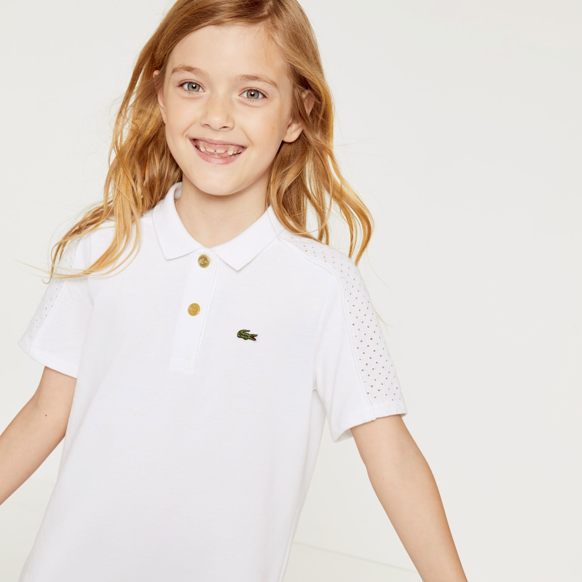Girls' Eyelet Embroidery Paneled Cotton Polo Dress