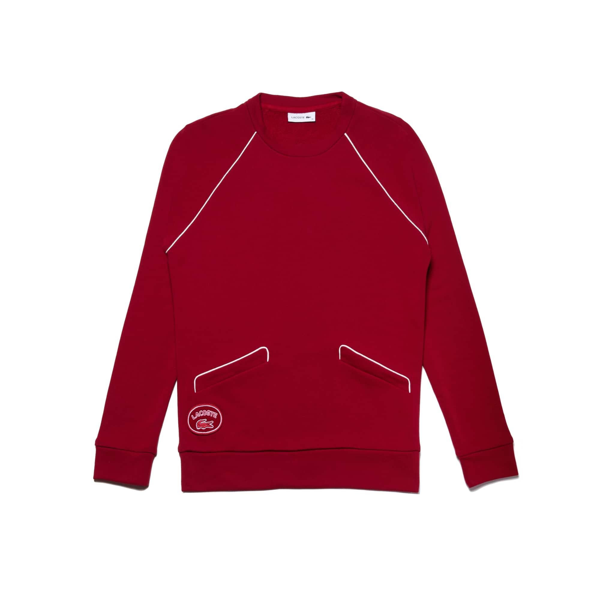 라코스테 Lacoste Womens Crew Neck Piped Crepe Fleece Sweatshirt,bordeaux/flour