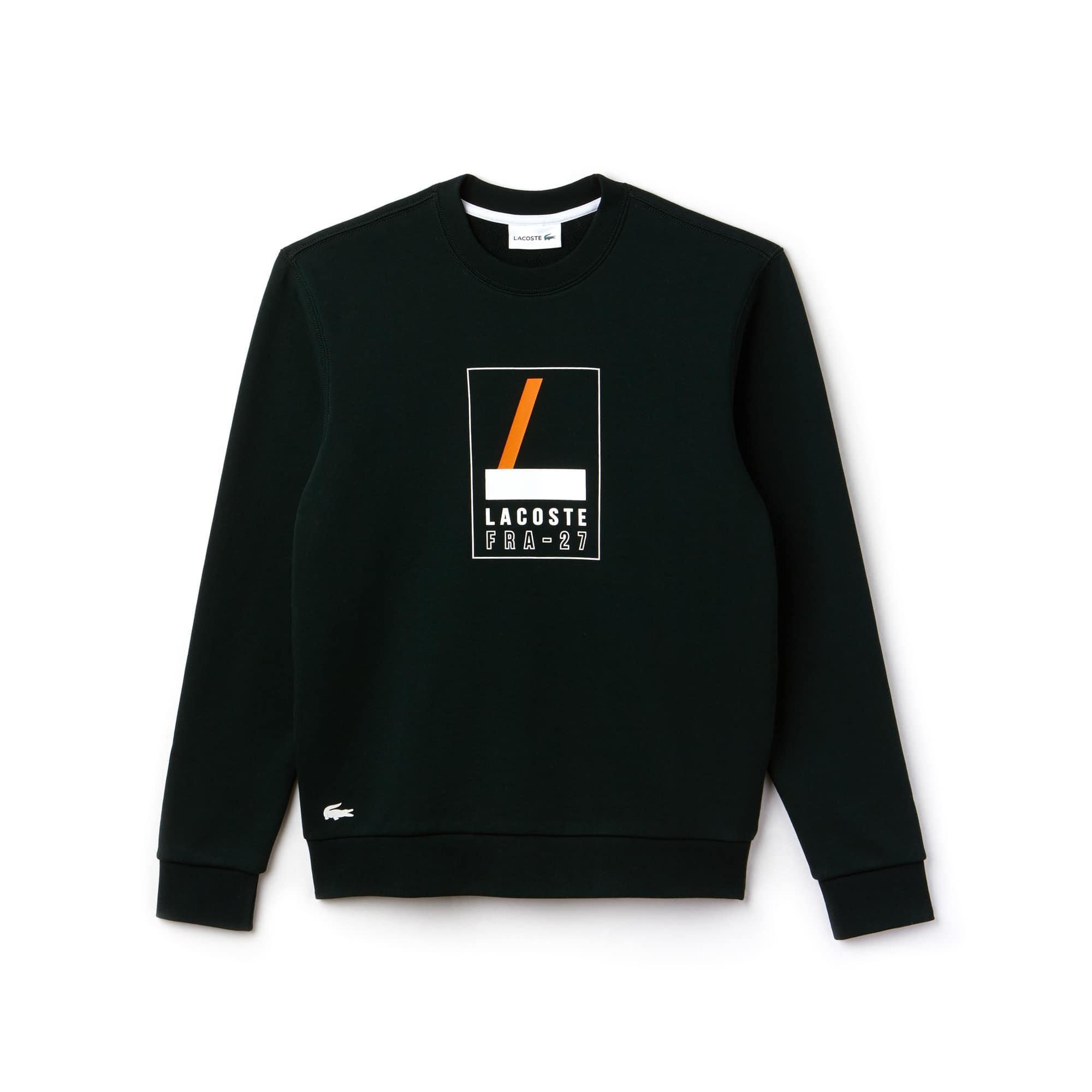 라코스테 Lacoste Mens Crew Neck Print Fleece Sweatshirt,sinople/white