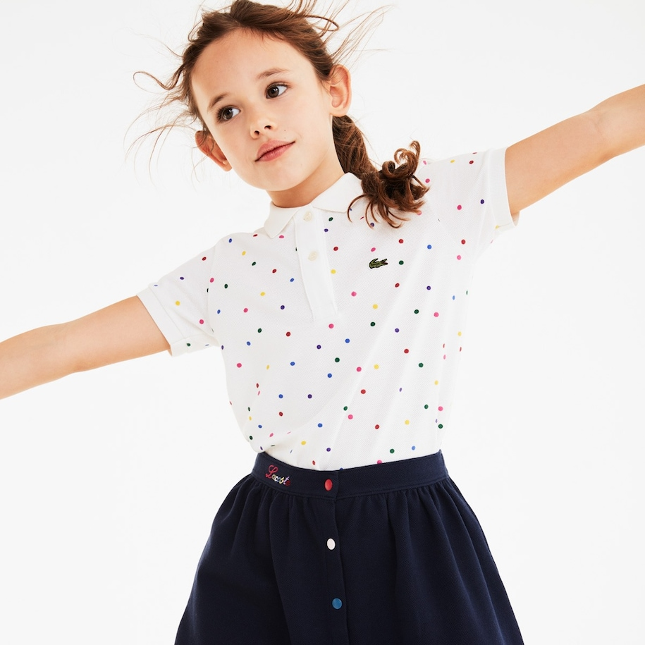 Girls' Polka Dot Cotton Piqué Polo