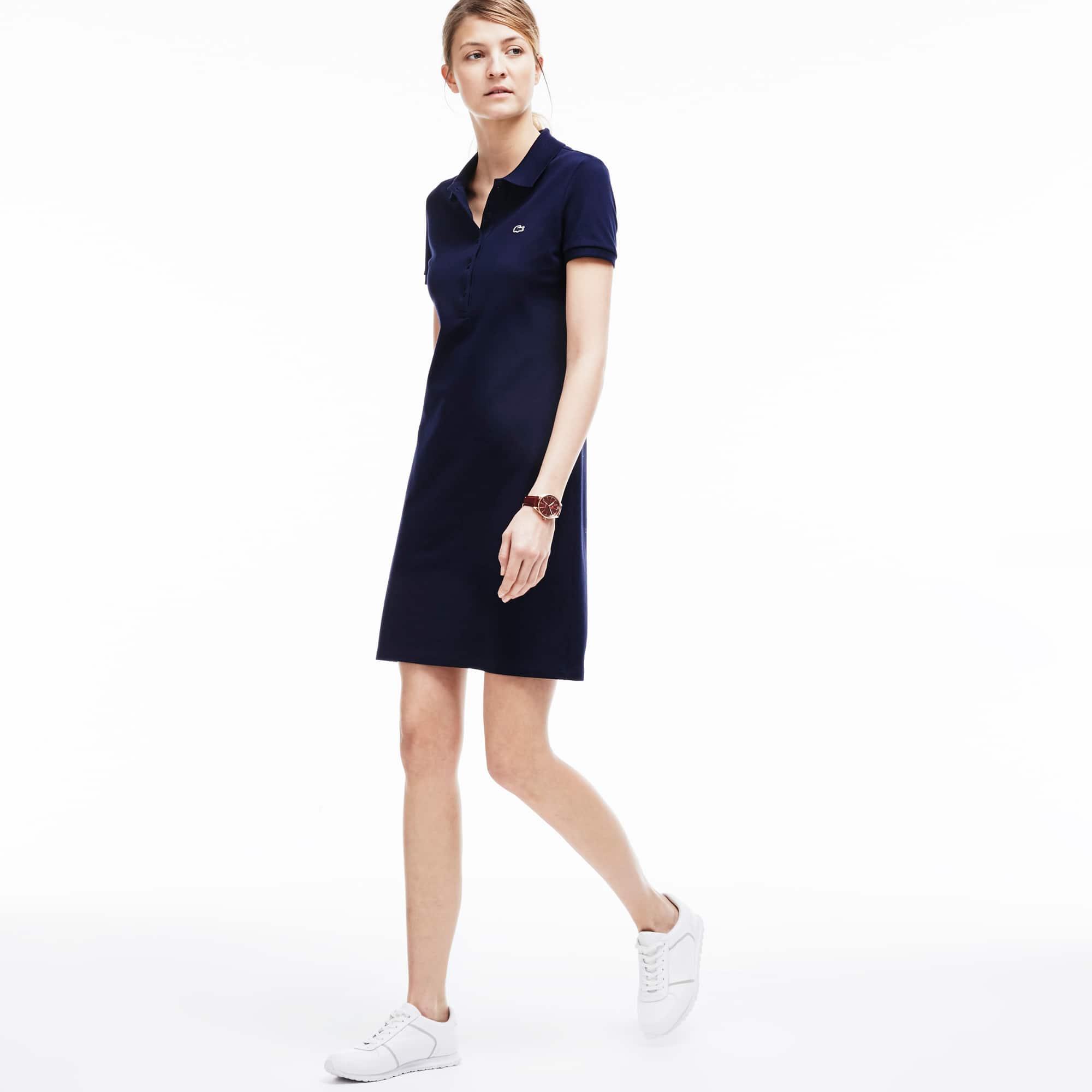 라코스테 폴로 원피스, 스트레치 미니 피케 - 네이비 Lacoste Womens Polo dress in stretch mini pique