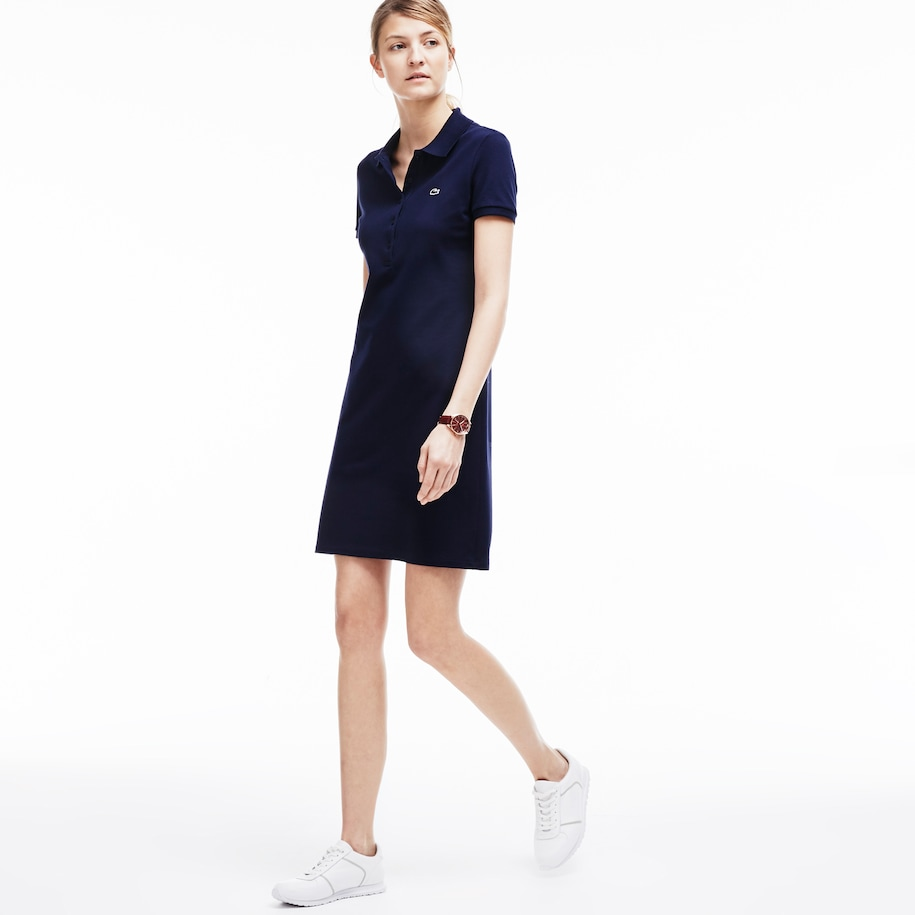 Women's Polo dress in stretch mini piqué
