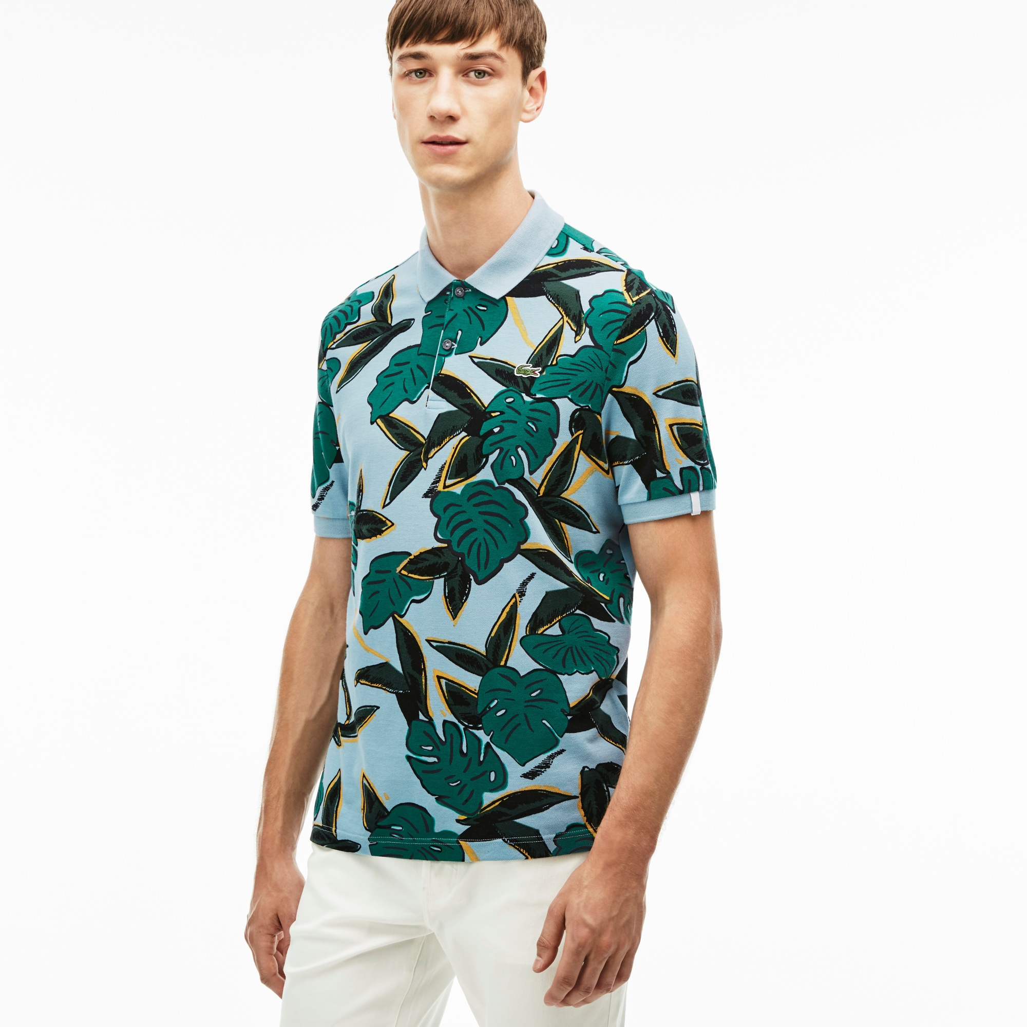 Men's L!VE Regular Fit Tropical Print Petit Piqué Polo Shirt